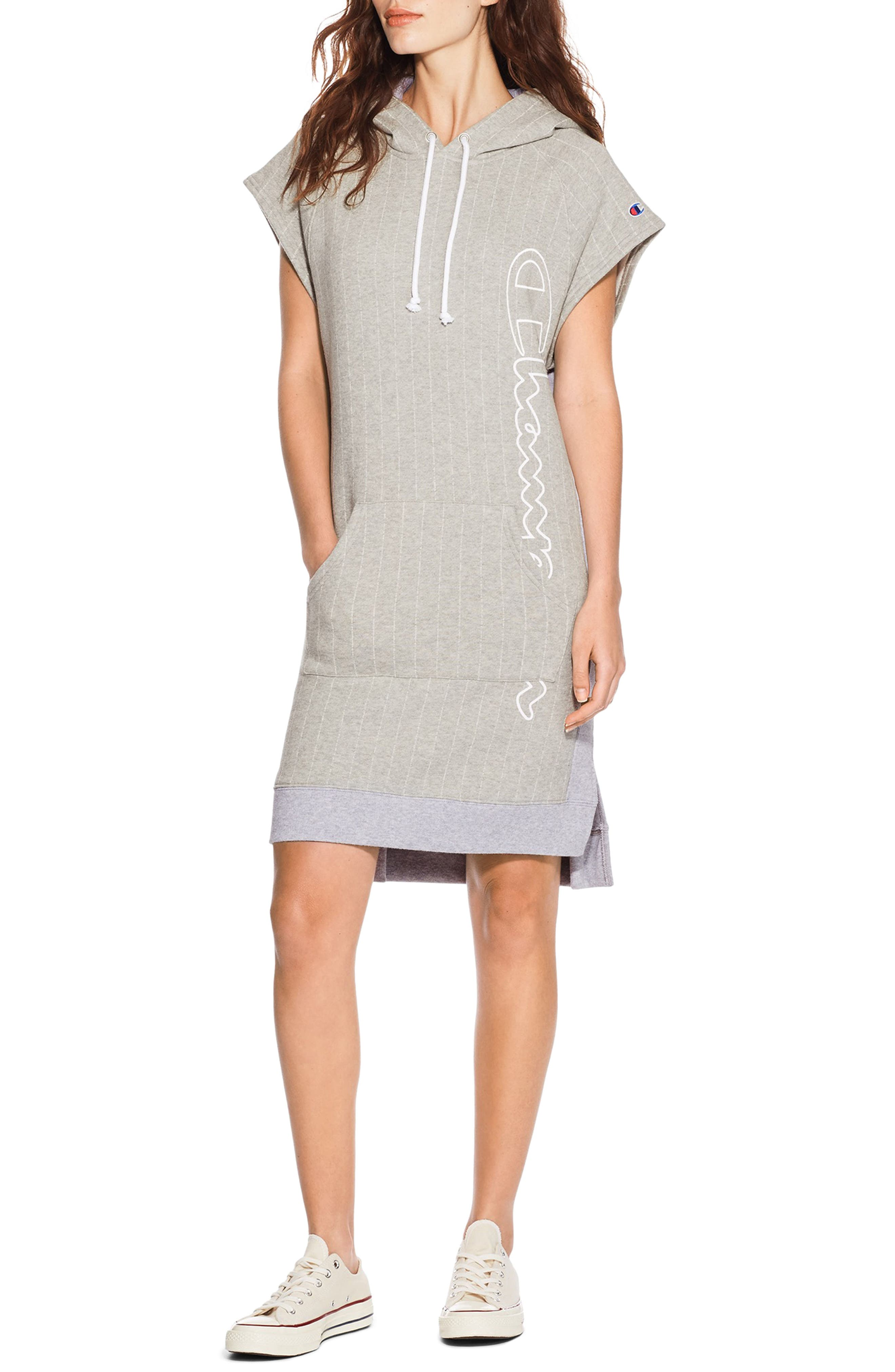 Reverse Weave<sup>®</sup> Hooded T-Shirt Dress,                         Main,                         color, Pin Stripe