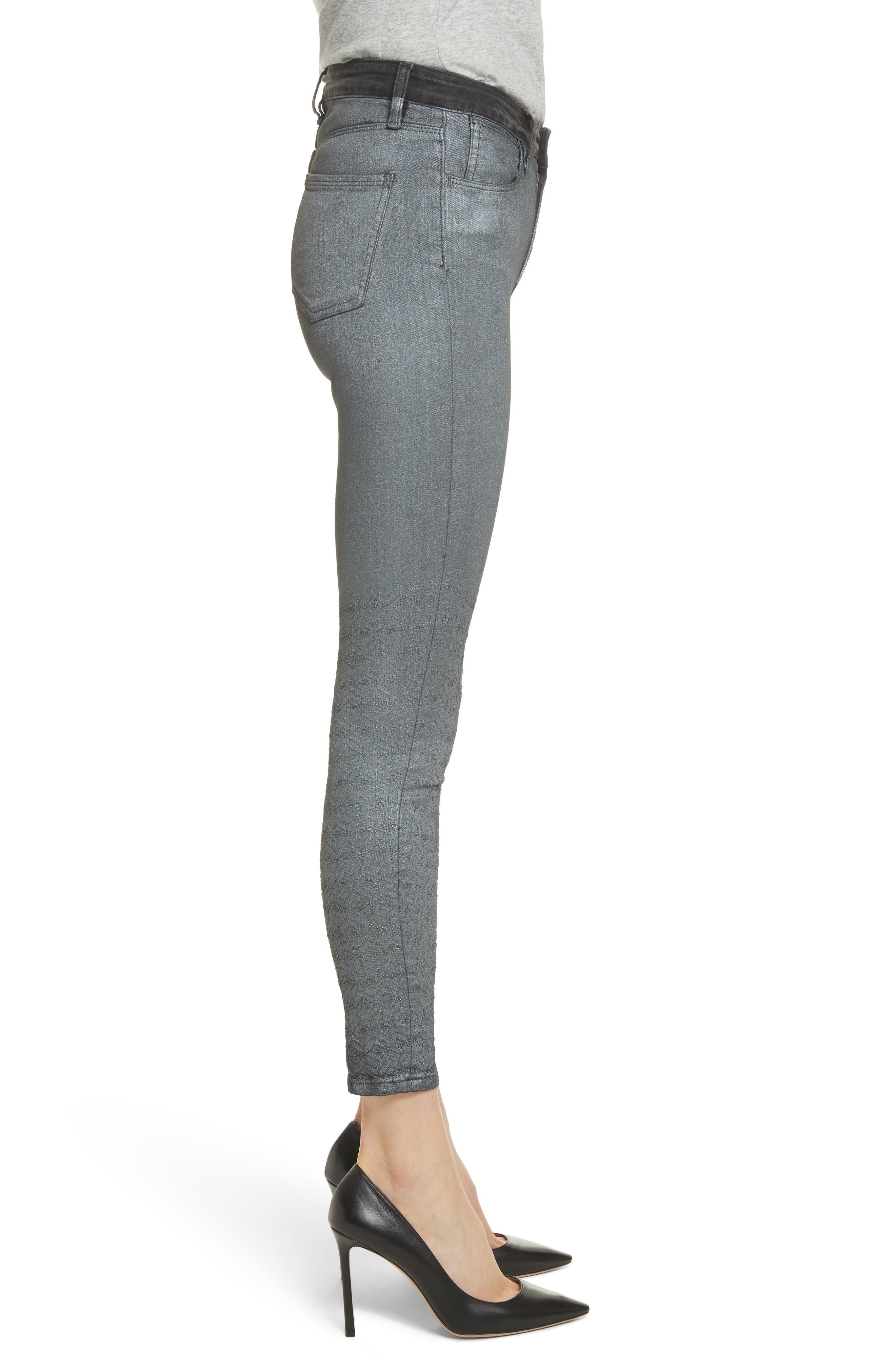 Reina Glitter Skinny Jeans,                             Alternate thumbnail 3, color,                             Black Used Glitter Silver