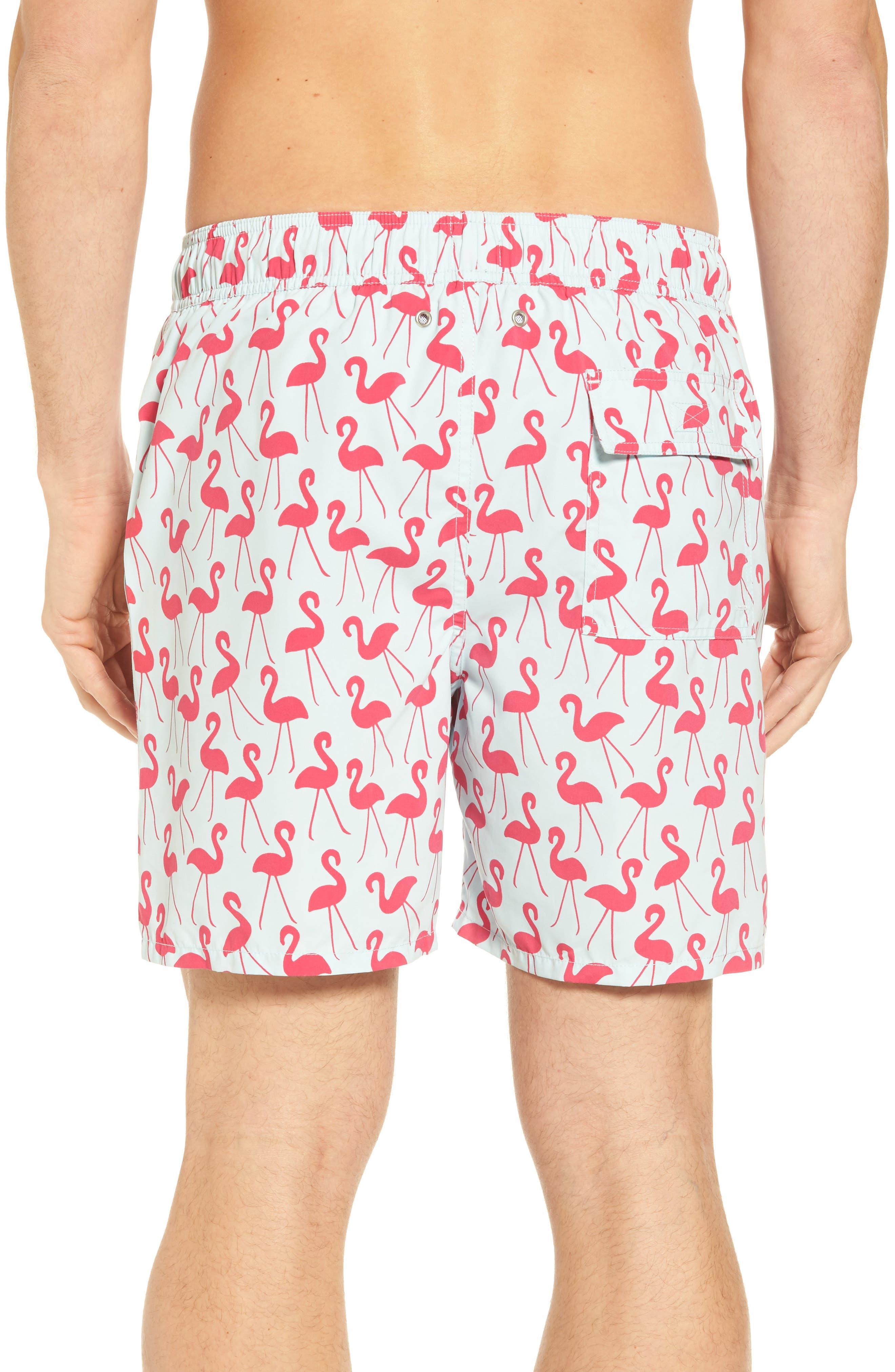 Flamingo Print Swim Trunks,                             Alternate thumbnail 2, color,                             Fuchsia