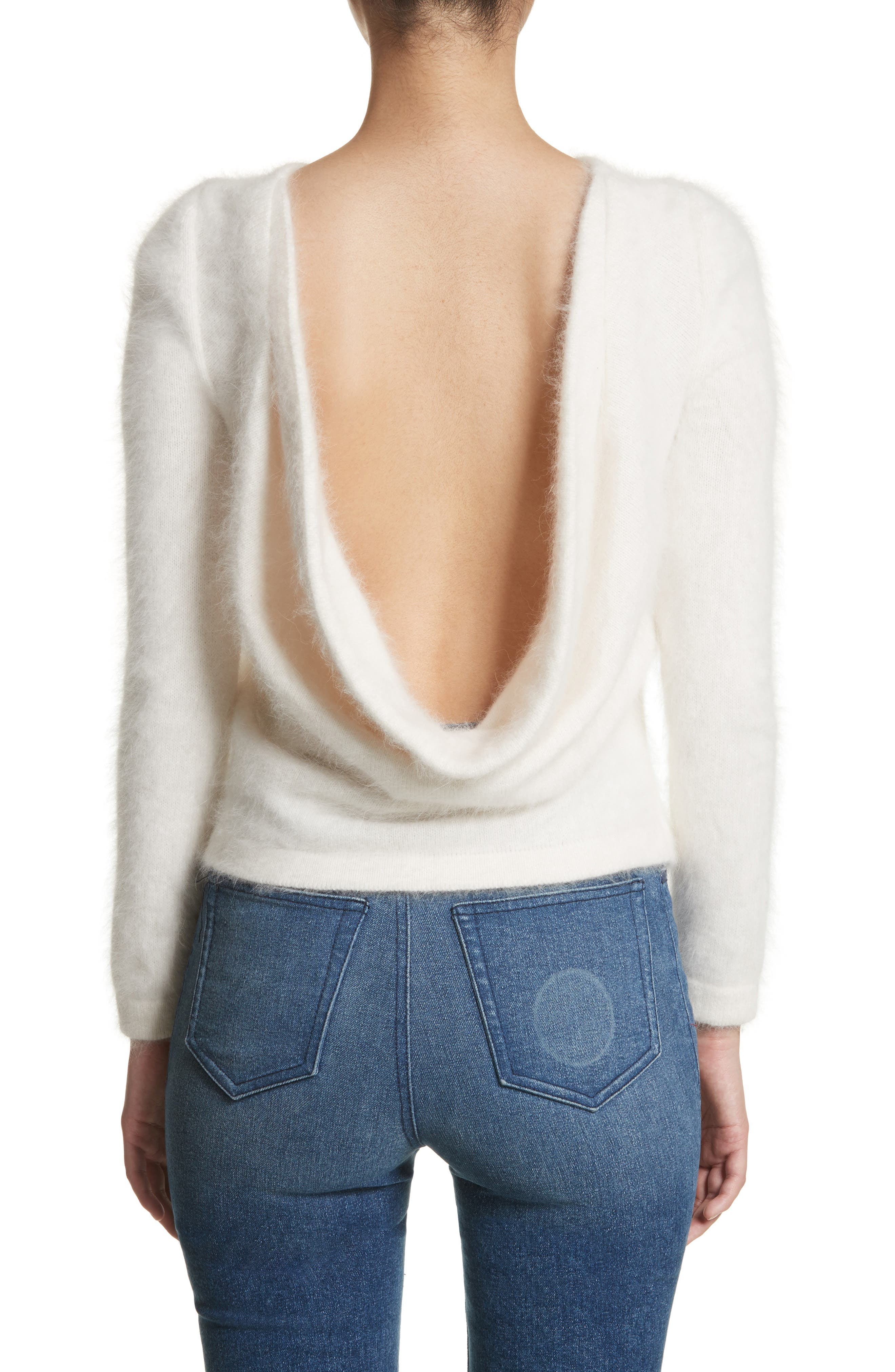 Alternate Image 2  - Brandon Maxwell Drape Back Angora Blend Sweater