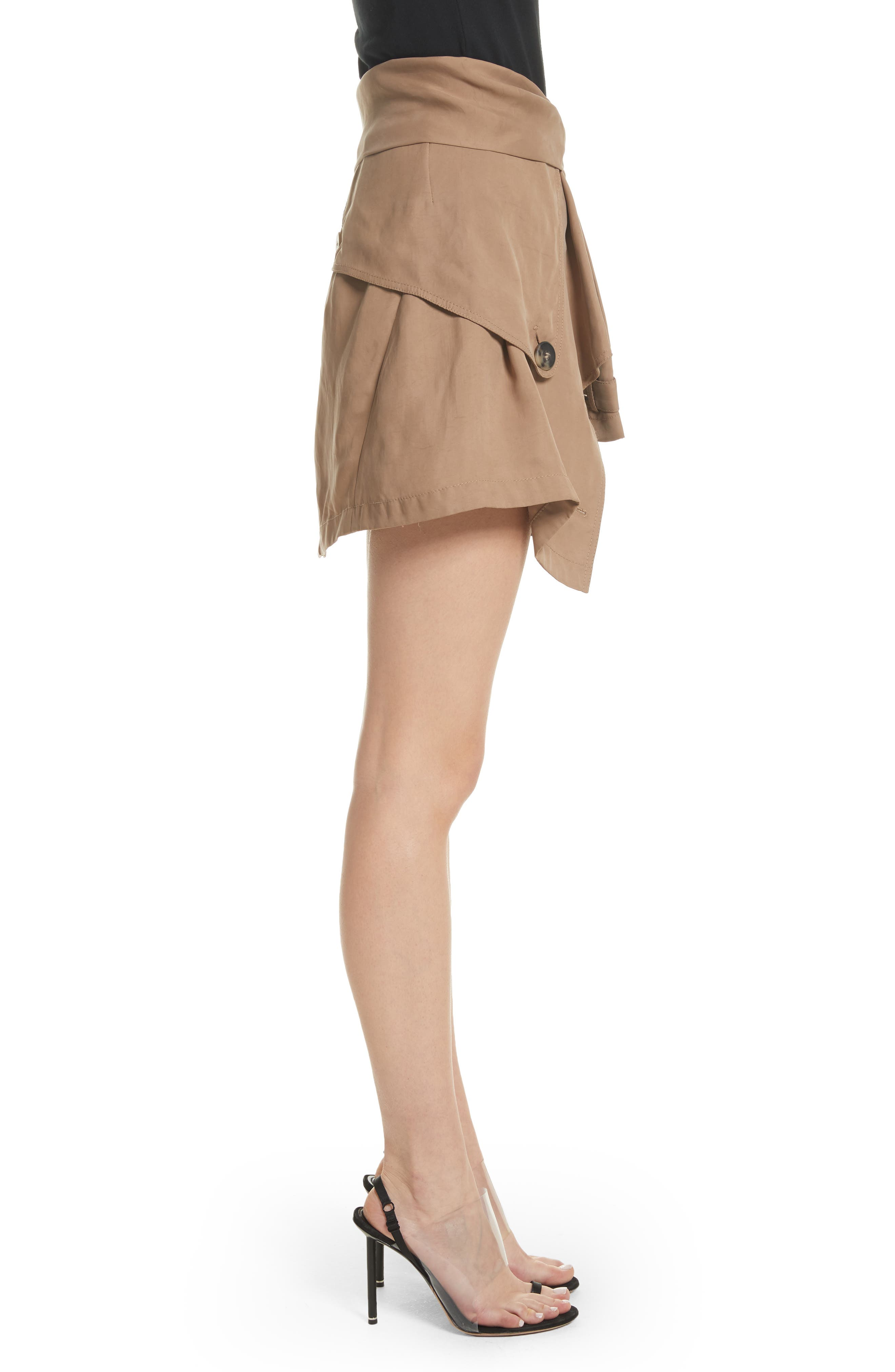 Trench Combo Leather Miniskirt,                             Alternate thumbnail 3, color,                             Sable