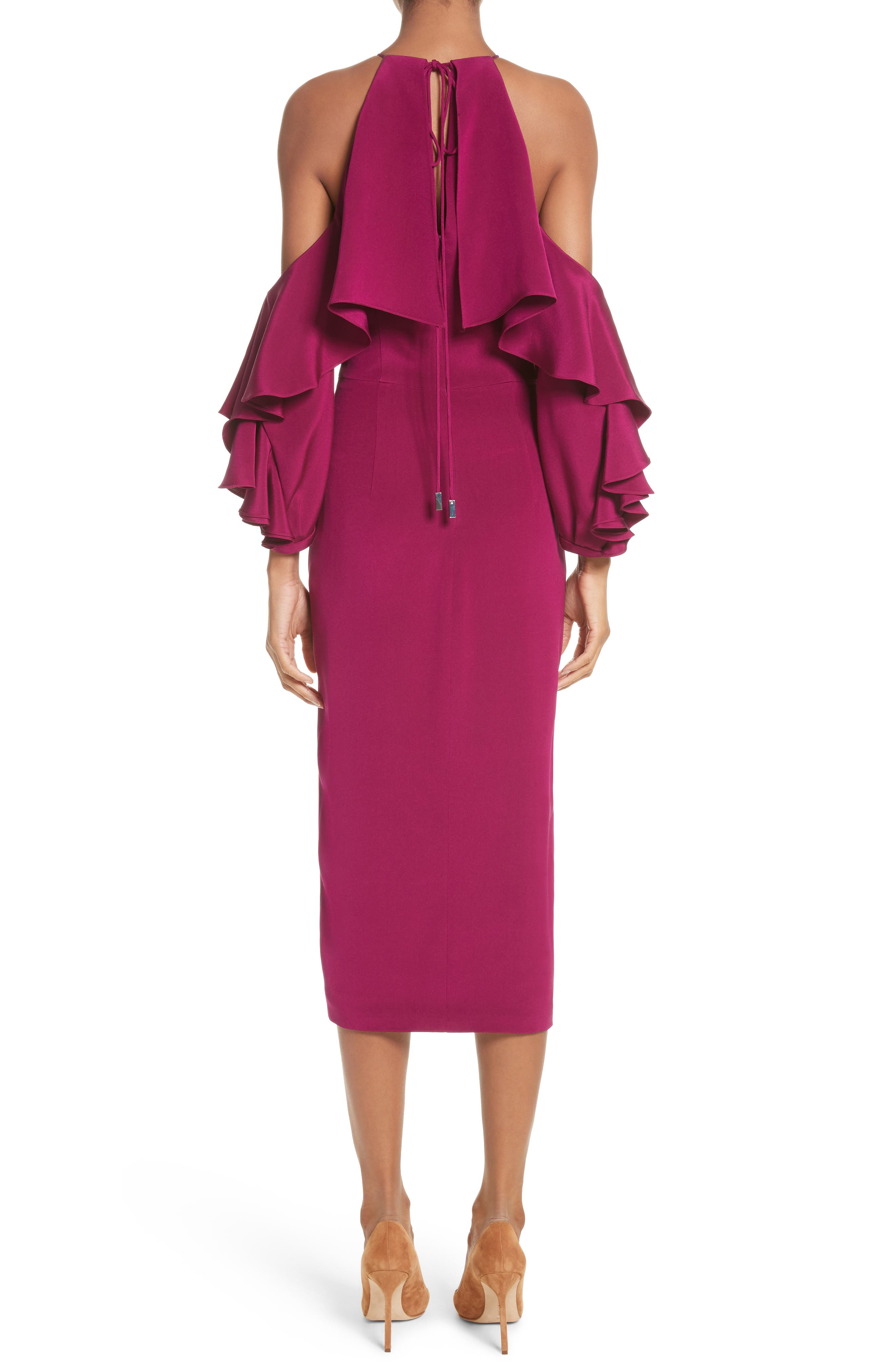Cold Shoulder Ruffle Silk Sheath Dress,                             Alternate thumbnail 2, color,                             Dahlia
