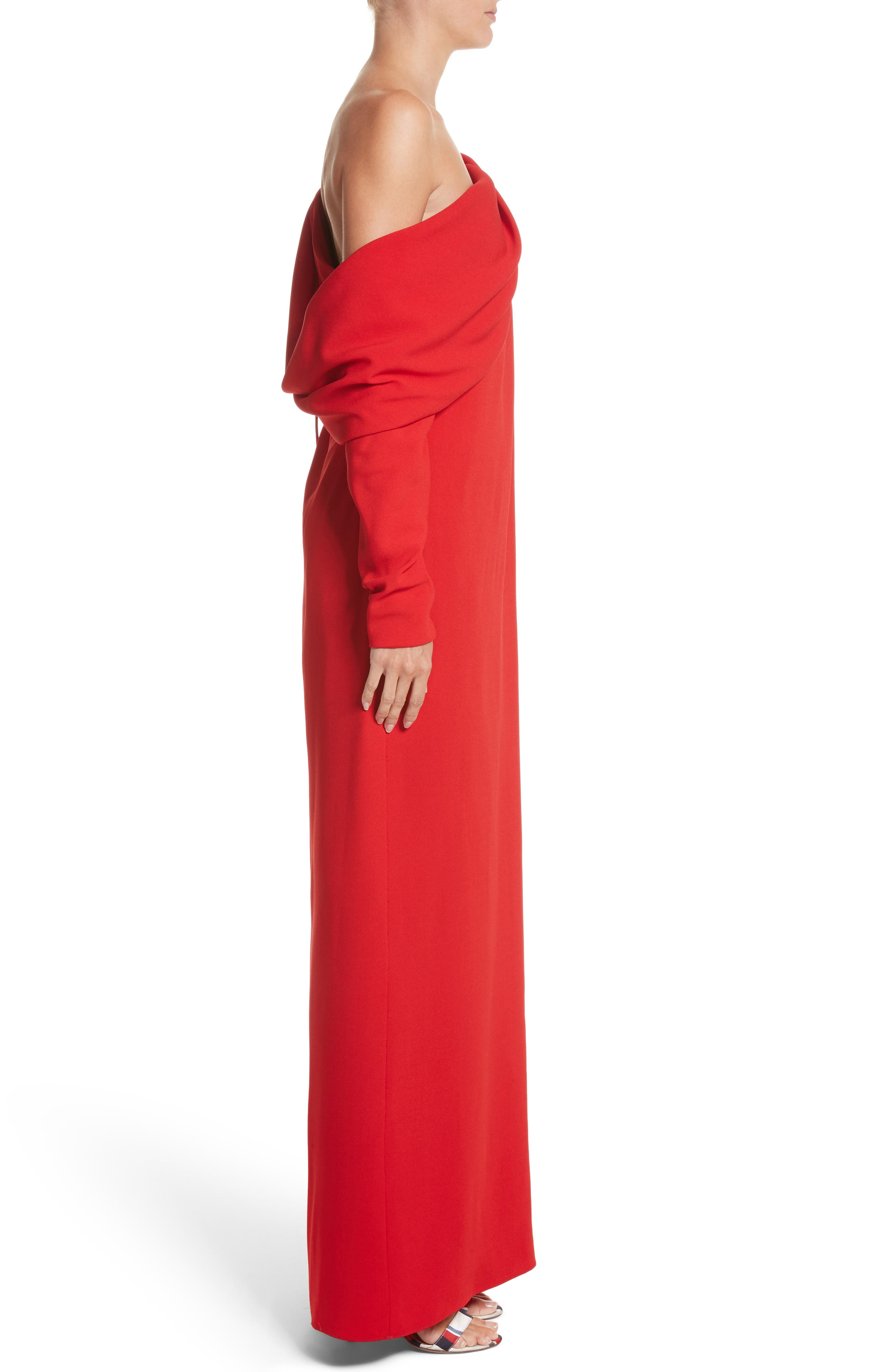 Cowl Sleeve Gown,                             Alternate thumbnail 4, color,                             Red