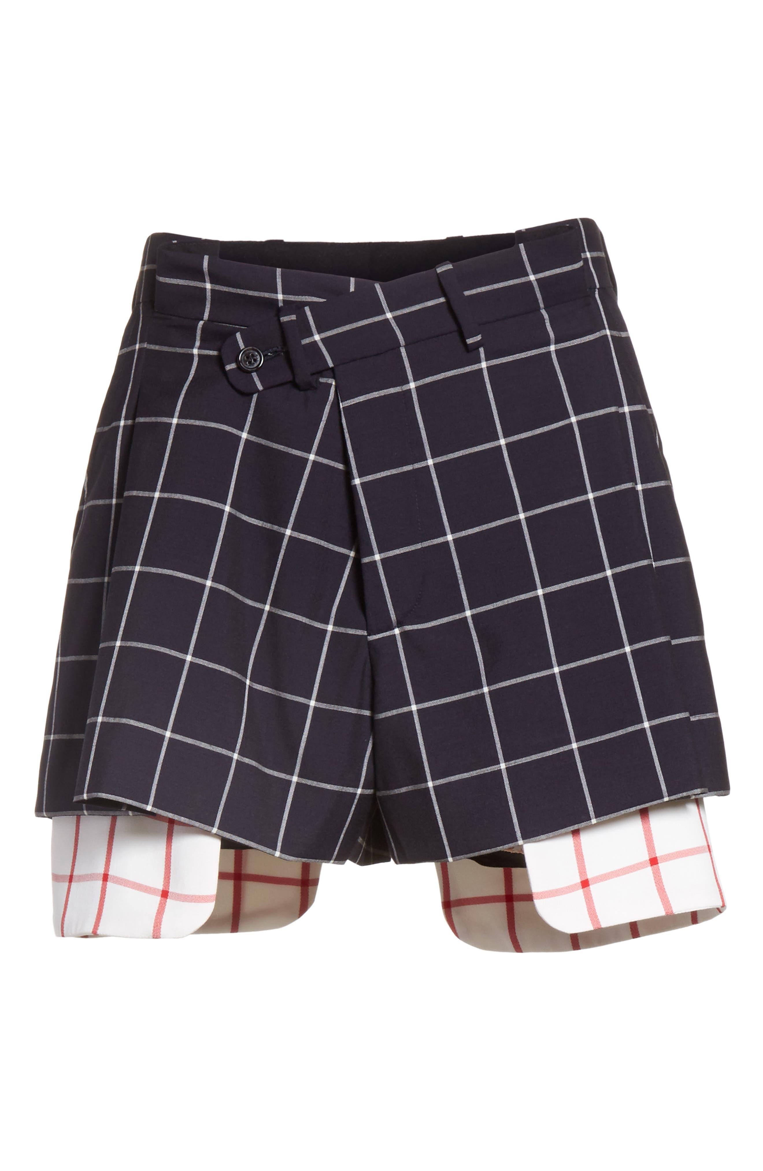 Peekaboo Windowpane Plaid Wool Shorts,                             Alternate thumbnail 6, color,                             Navy/ White