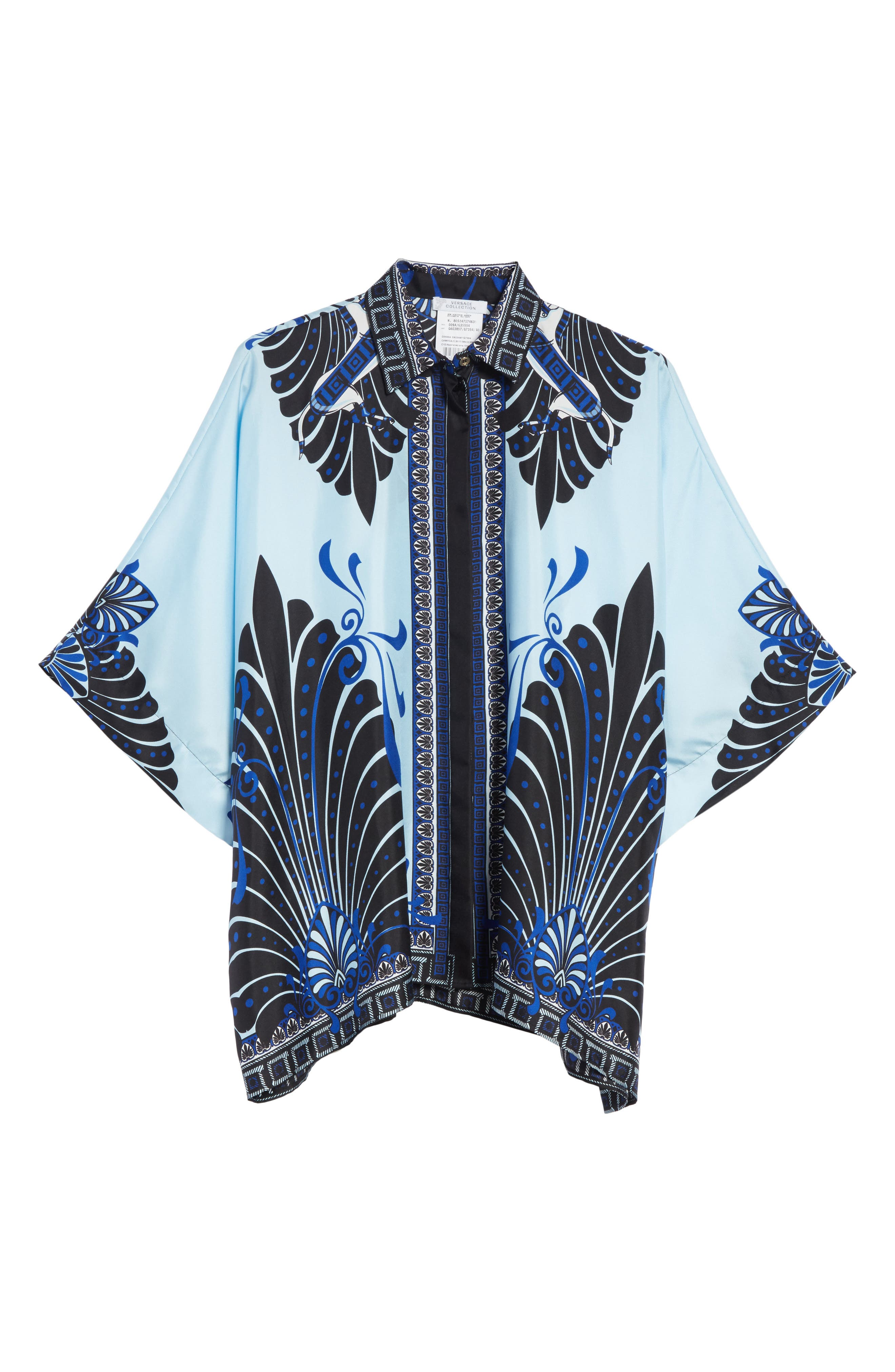 Eros Wide Sleeve Silk Shirt,                             Alternate thumbnail 6, color,                             Light Blue/ Print