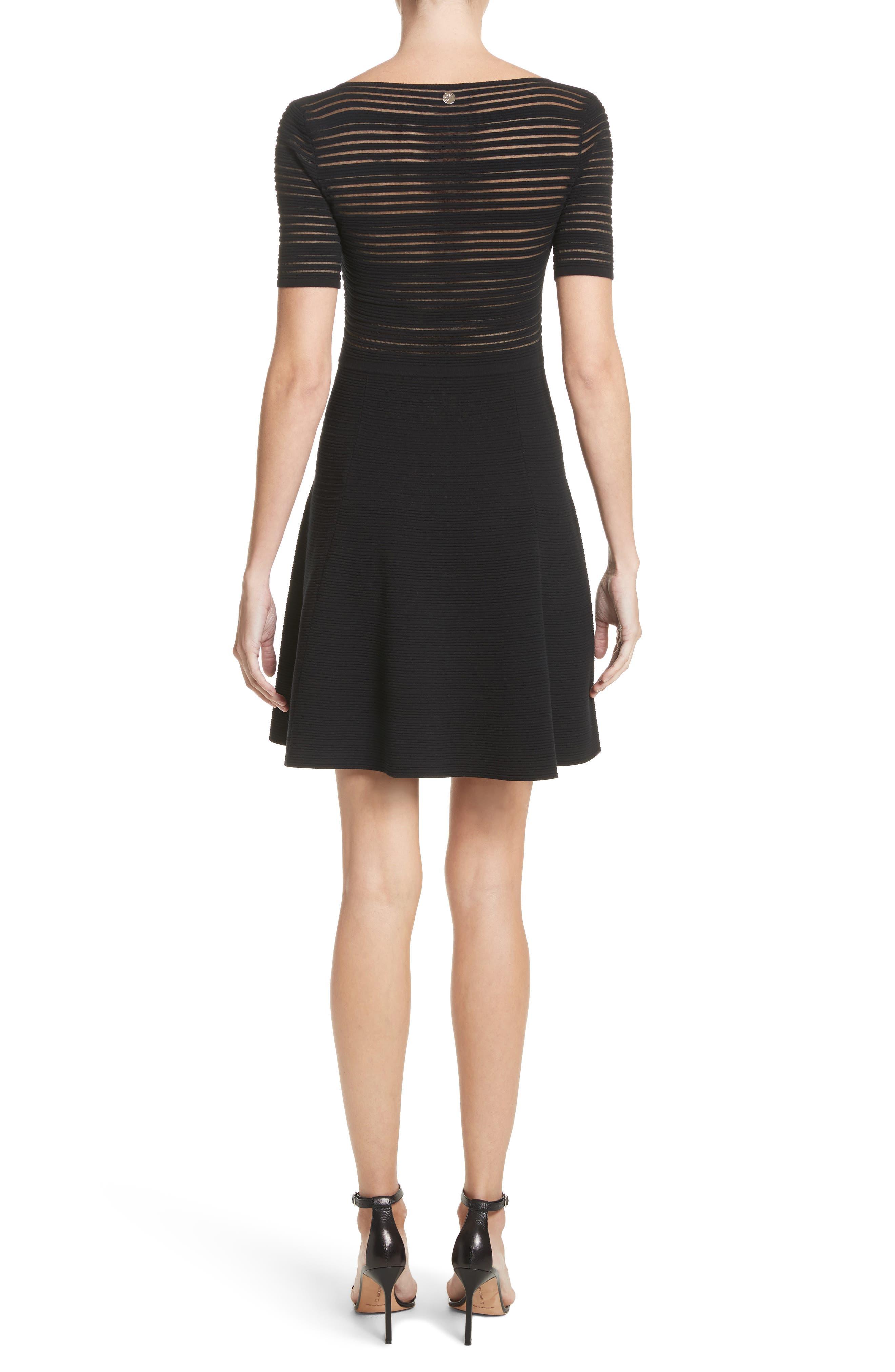 Stripe Knit A-Line Dress,                             Alternate thumbnail 2, color,                             Black