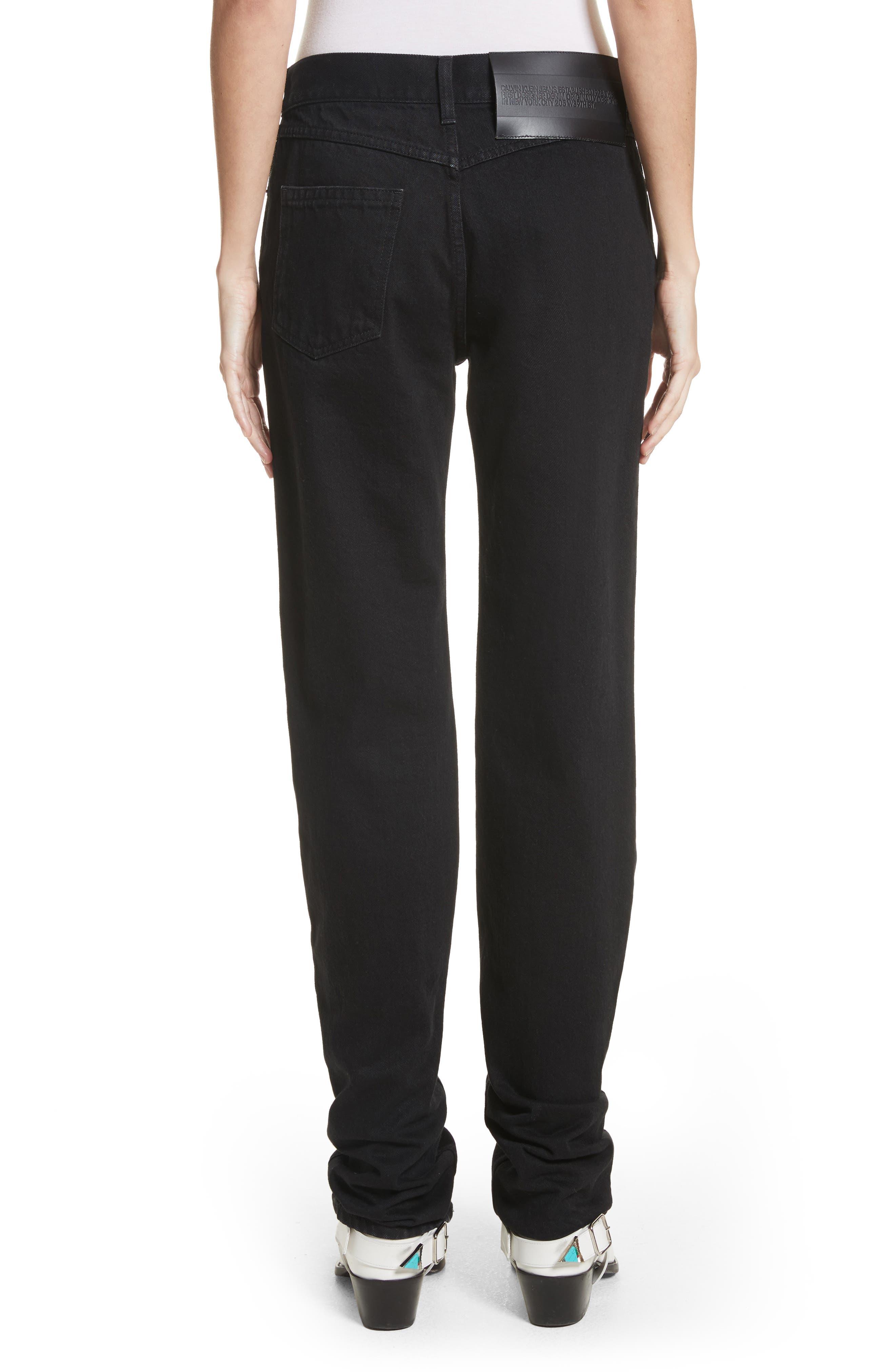 Silk Knee Patch Straight Leg Jeans,                             Alternate thumbnail 3, color,                             Black