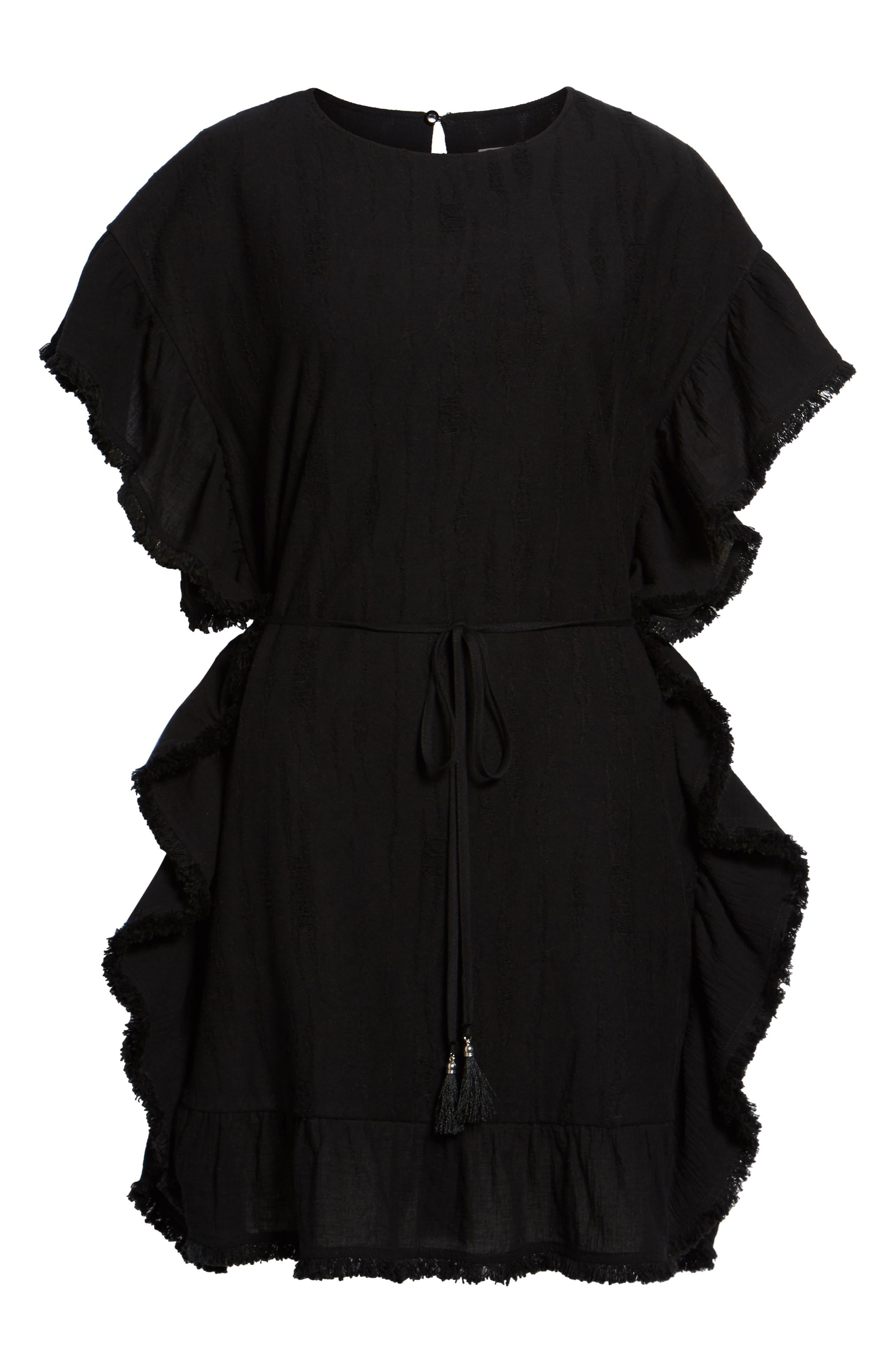 Ruffle Edge Dress,                             Alternate thumbnail 6, color,                             Black