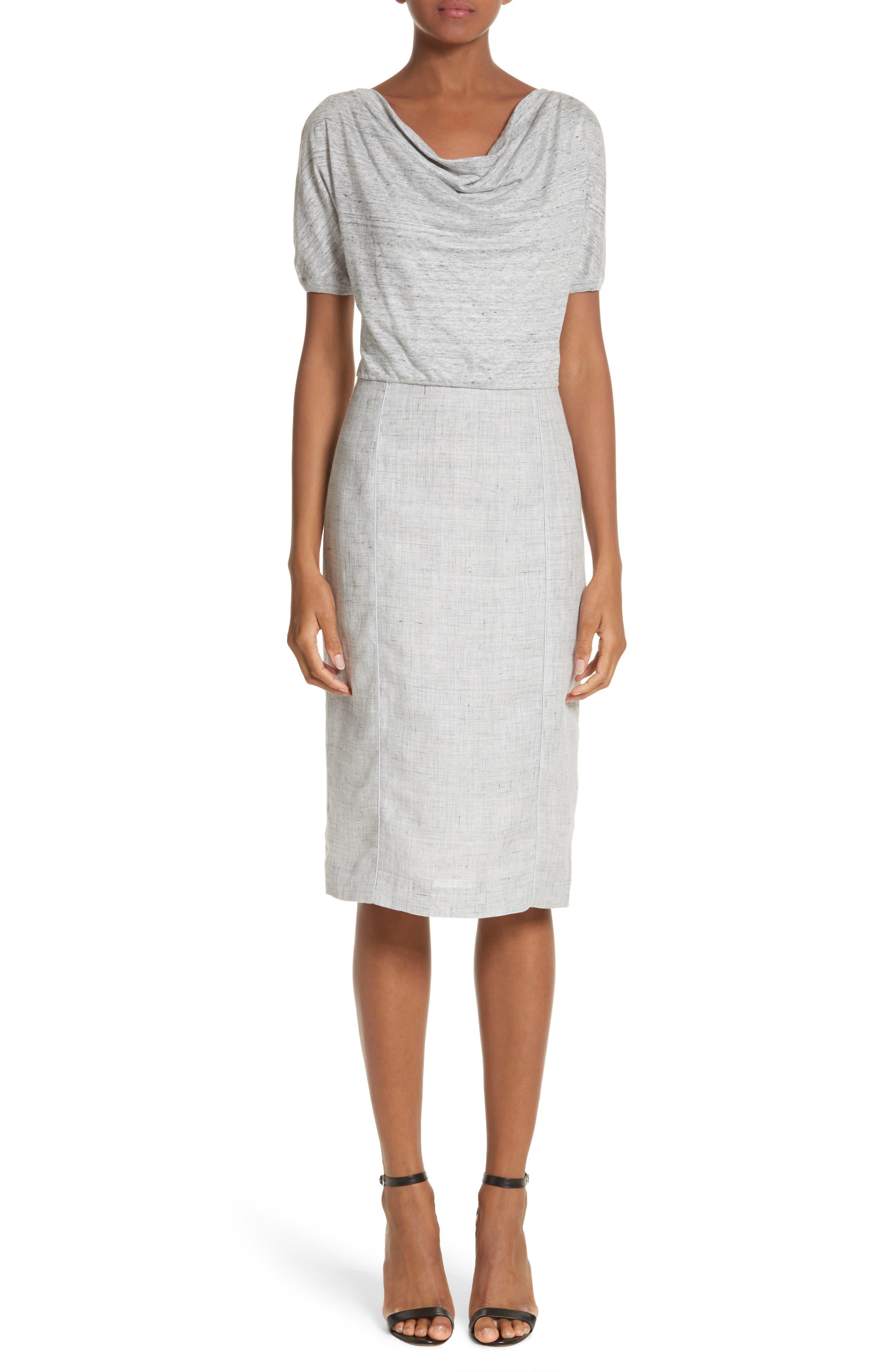 Laura Cowl Neck Linen Dress,                         Main,                         color, Light Grey