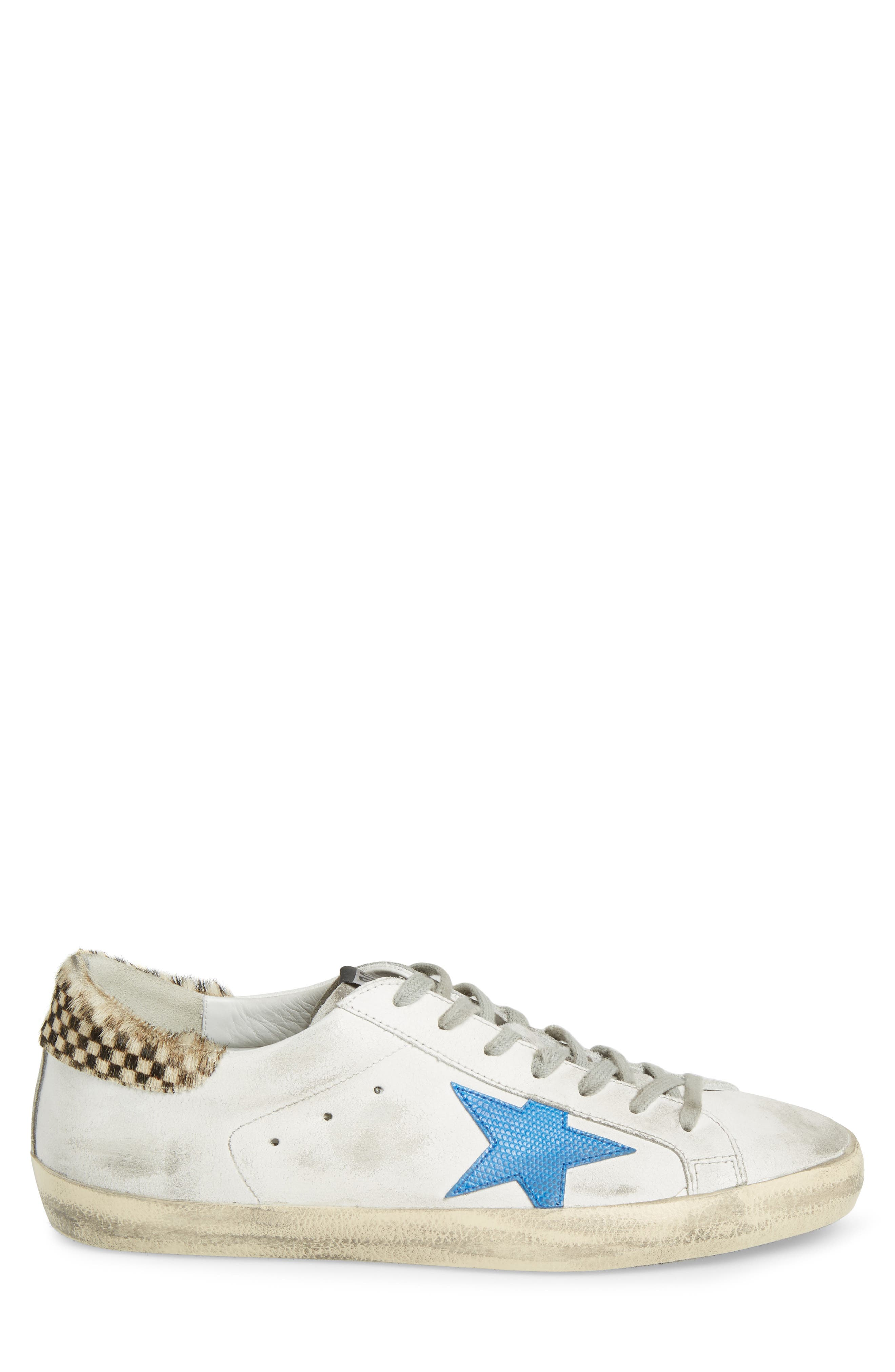 Superstar Sneaker with Genuine Calf Hair Trim,                             Alternate thumbnail 3, color,                             White/ Check/ Lizard Print