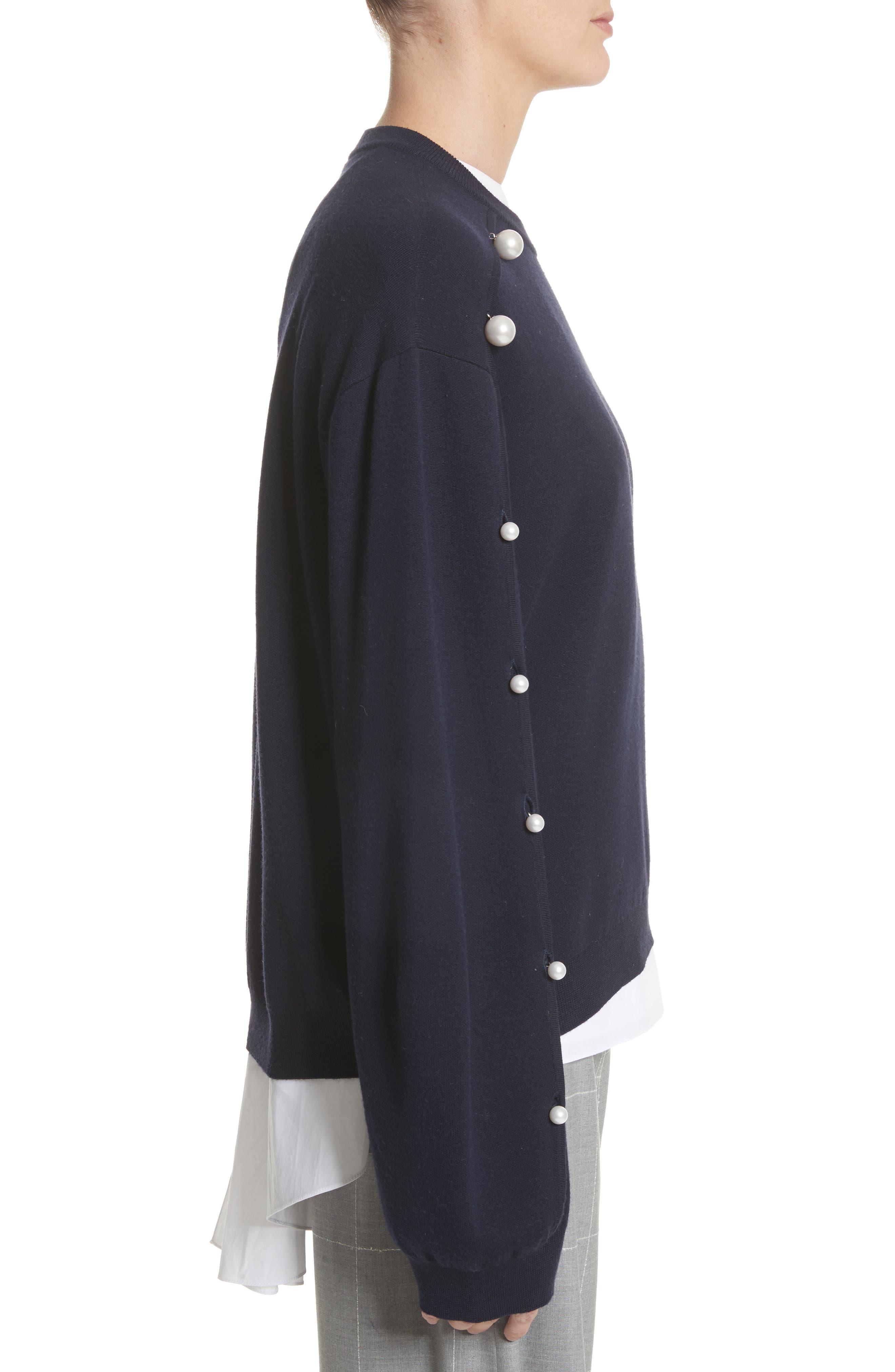 Imitation Pearl Sleeve Merino Wool Sweater,                             Alternate thumbnail 3, color,                             Navy/ Black