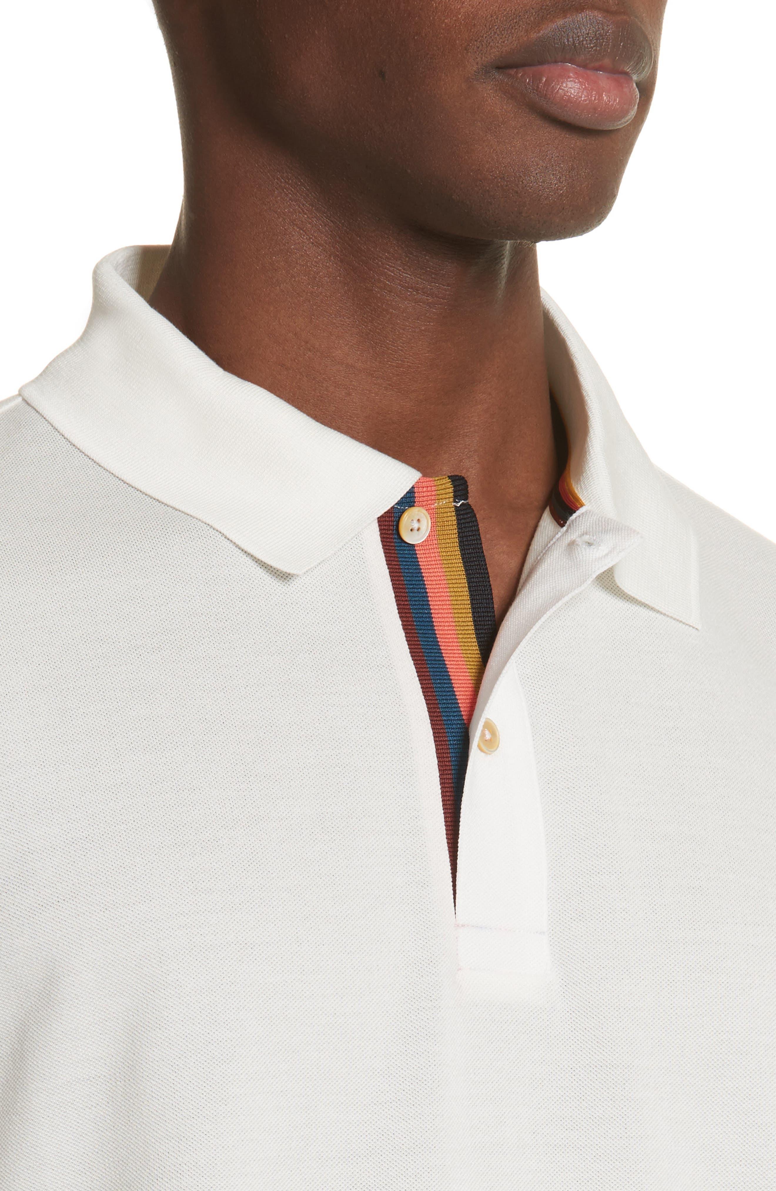 Stripe Placket Piqué Polo,                             Alternate thumbnail 4, color,                             01 White