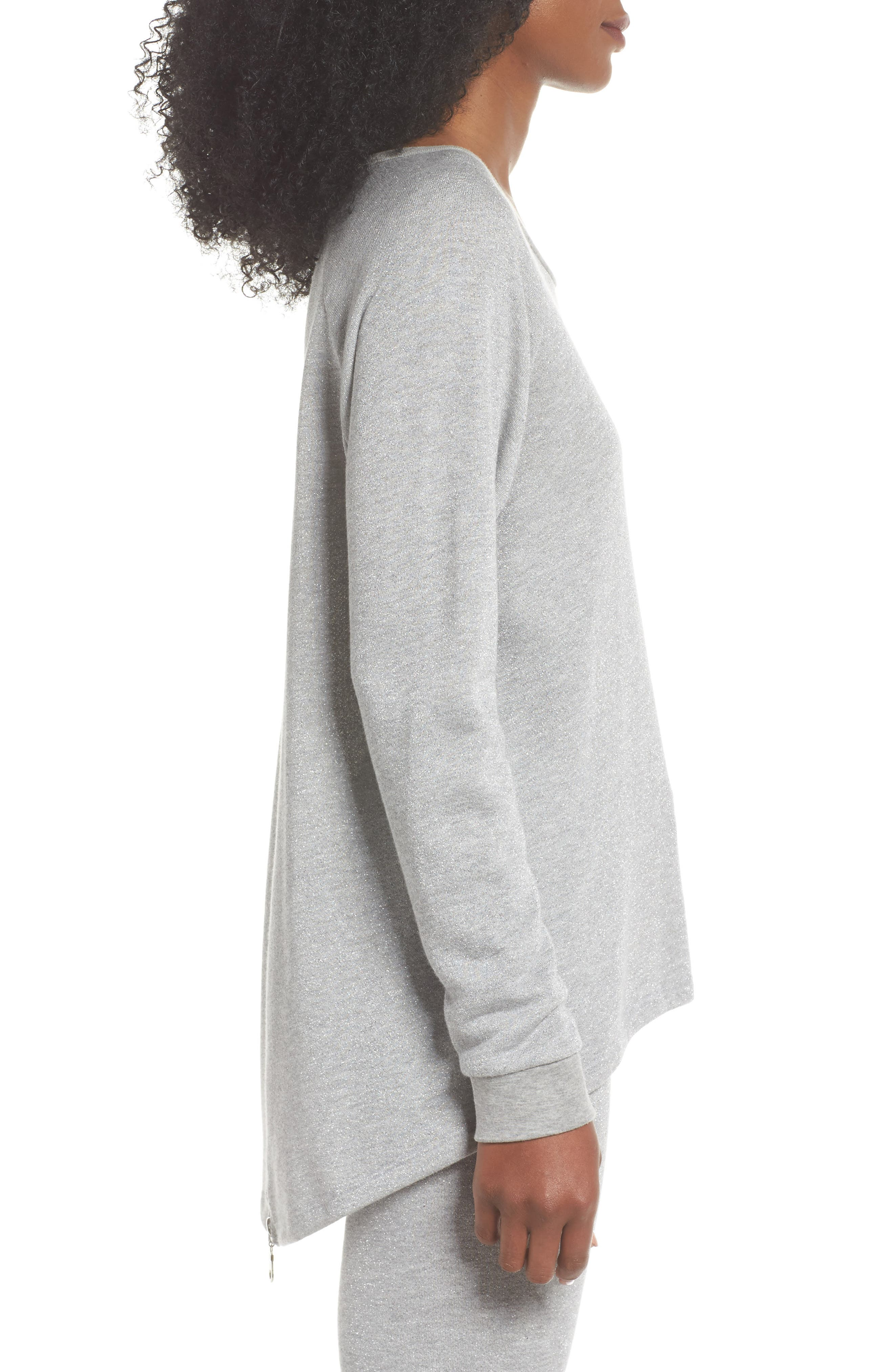Louie Metallic High/Low Pullover,                             Alternate thumbnail 3, color,                             Heather Grey