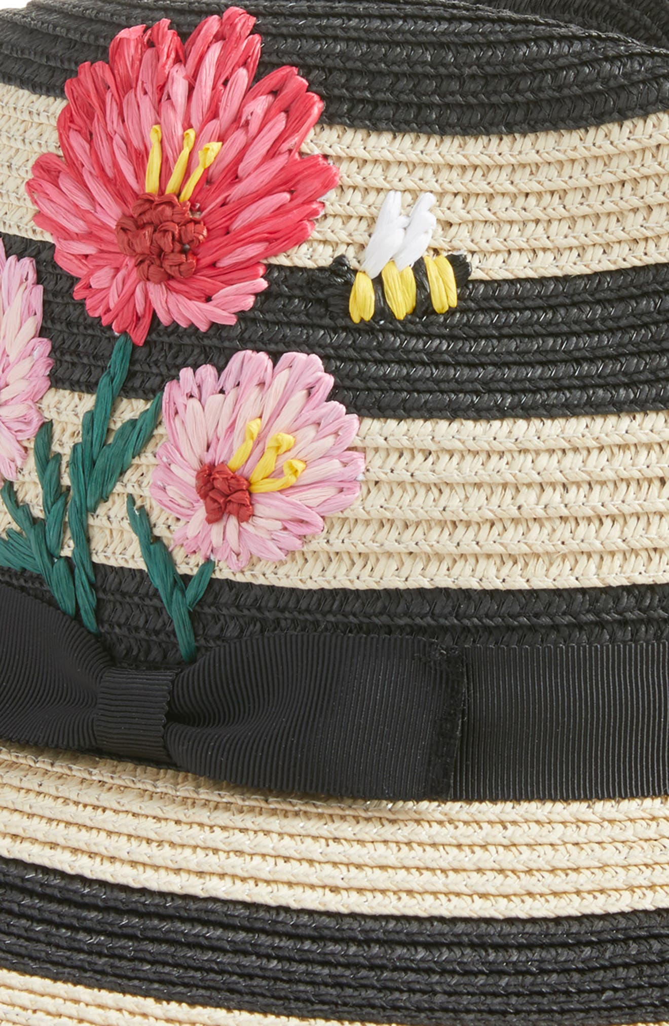 blossom embroidered straw trilby,                             Alternate thumbnail 2, color,                             Black