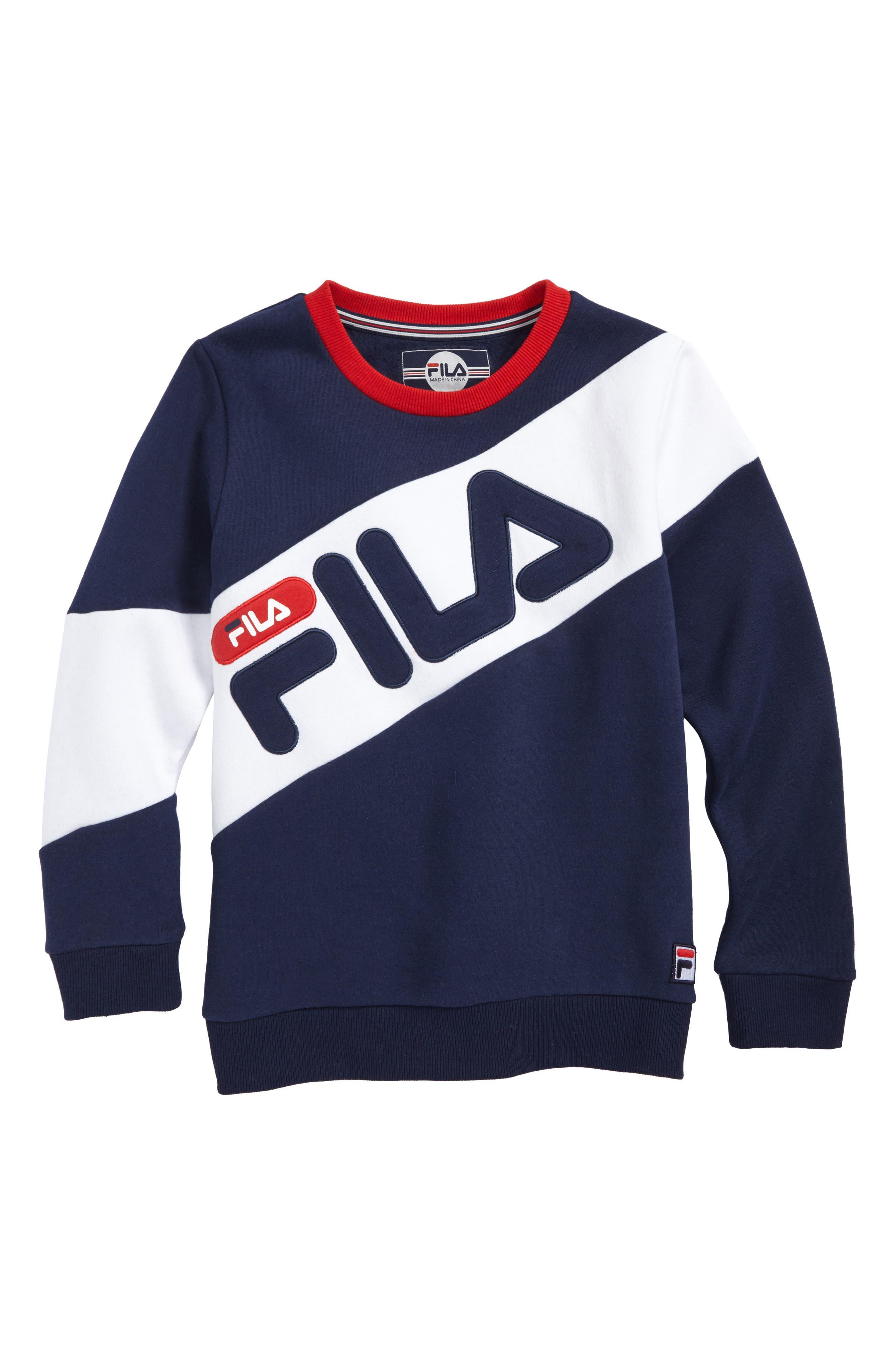 Main Image - FILA Colorblock Logo Sweatshirt (Big Boys)