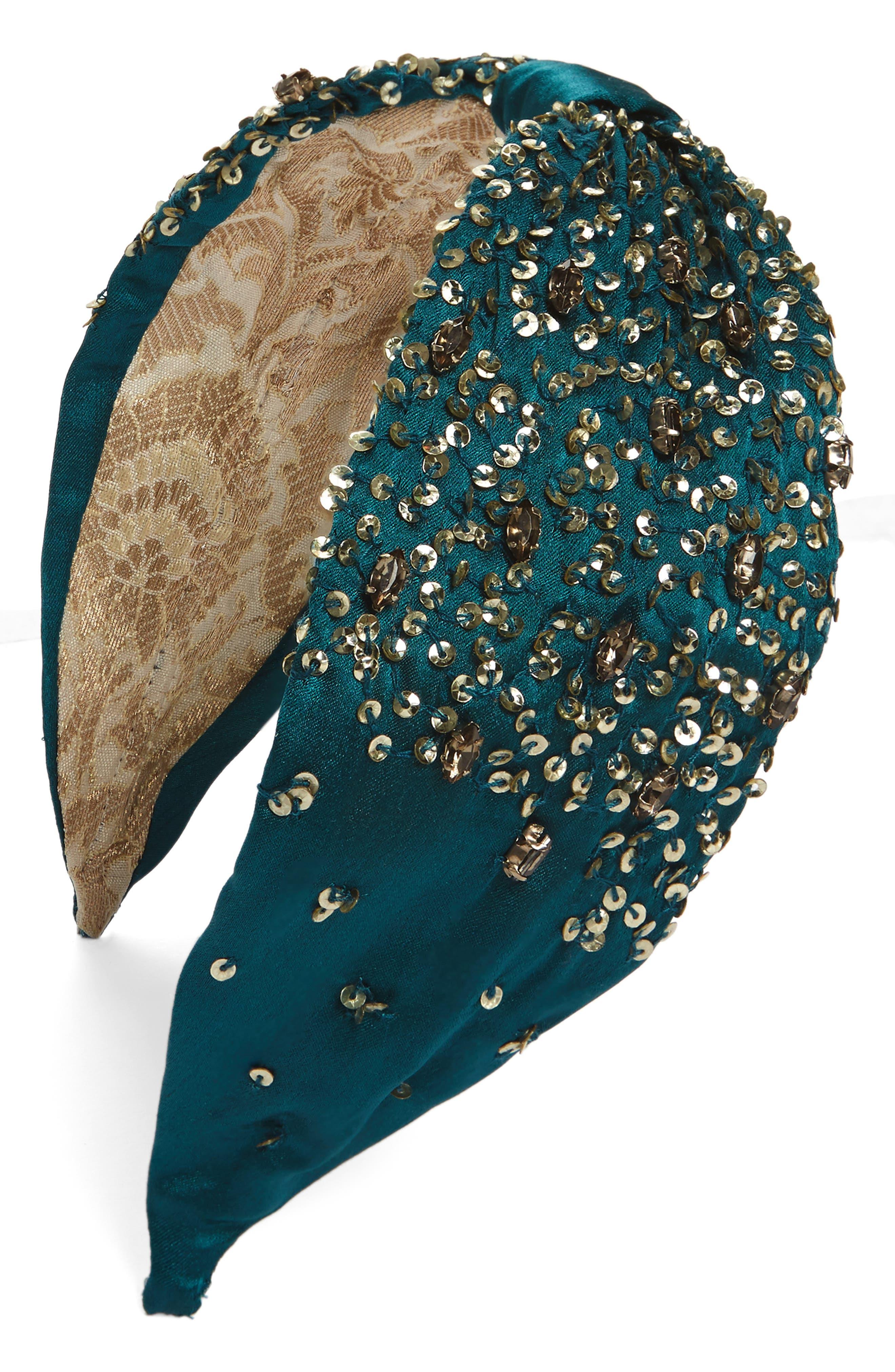 Empress Headband,                         Main,                         color, Emerald/ Gold