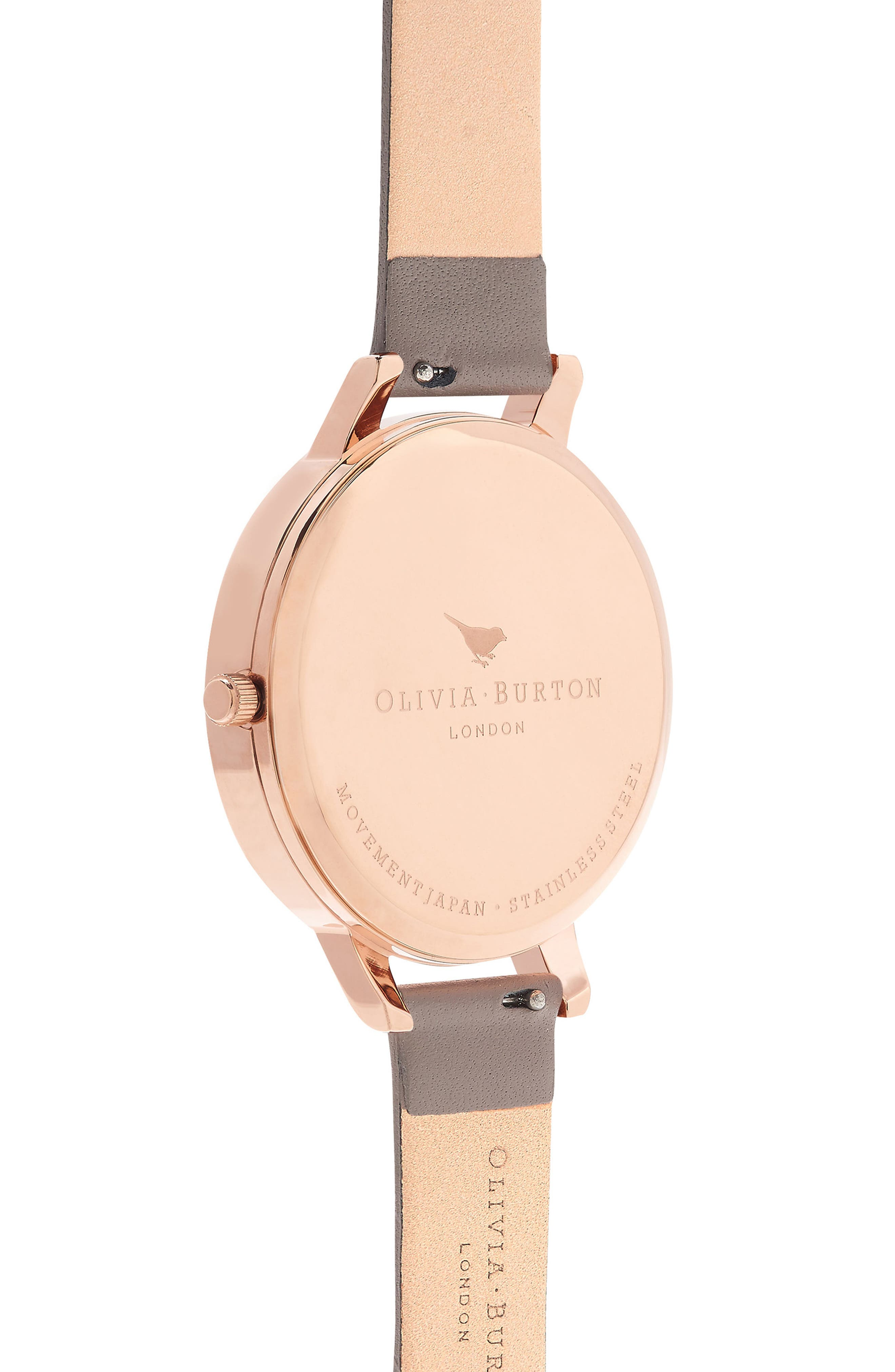 Floral Bouquet Leather Strap Watch, 38mm,                             Alternate thumbnail 3, color,                             London Grey/ Grey/ Rose Gold