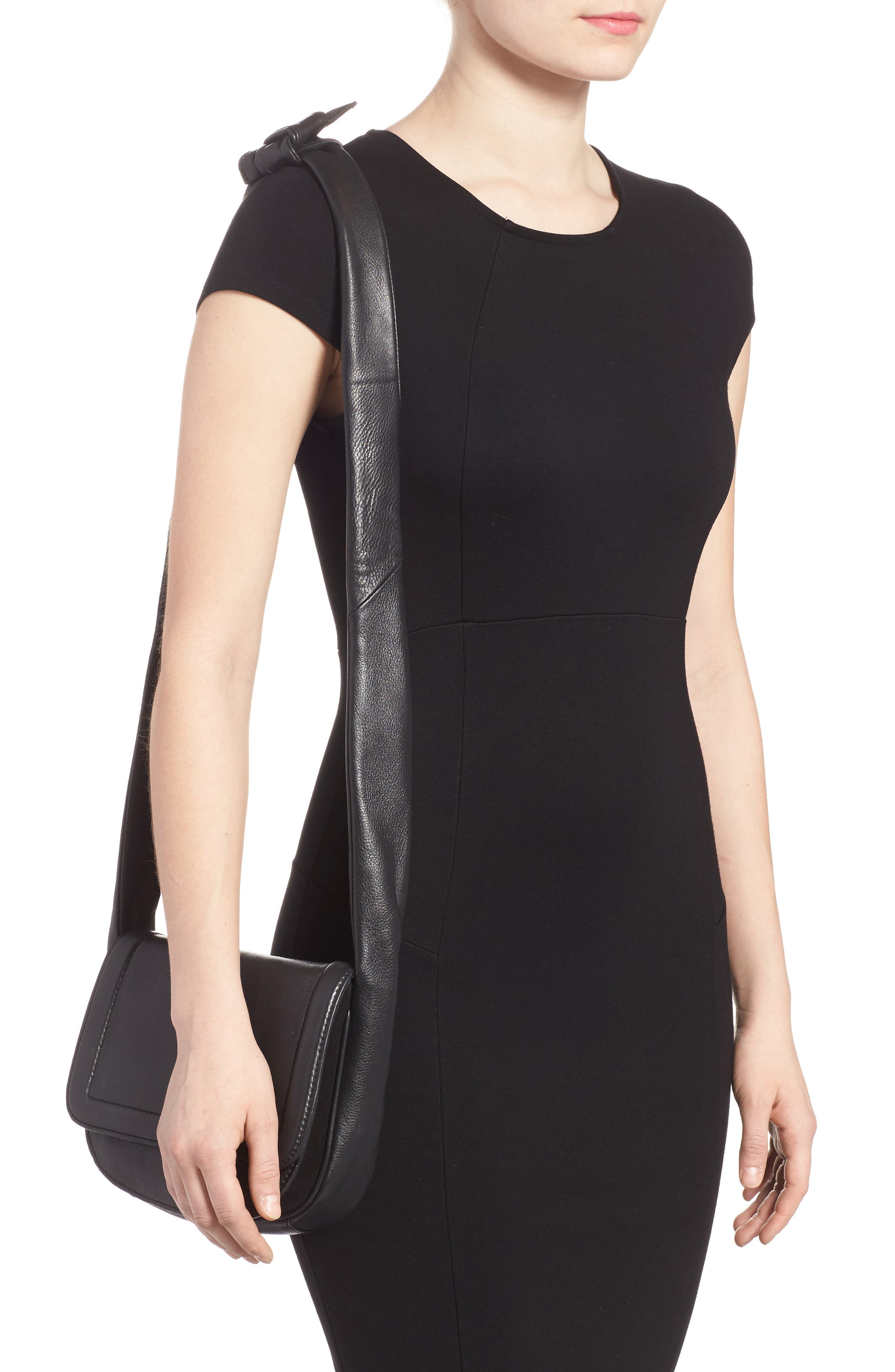 Jasmine Leather Saddle Bag,                             Alternate thumbnail 2, color,                             Black