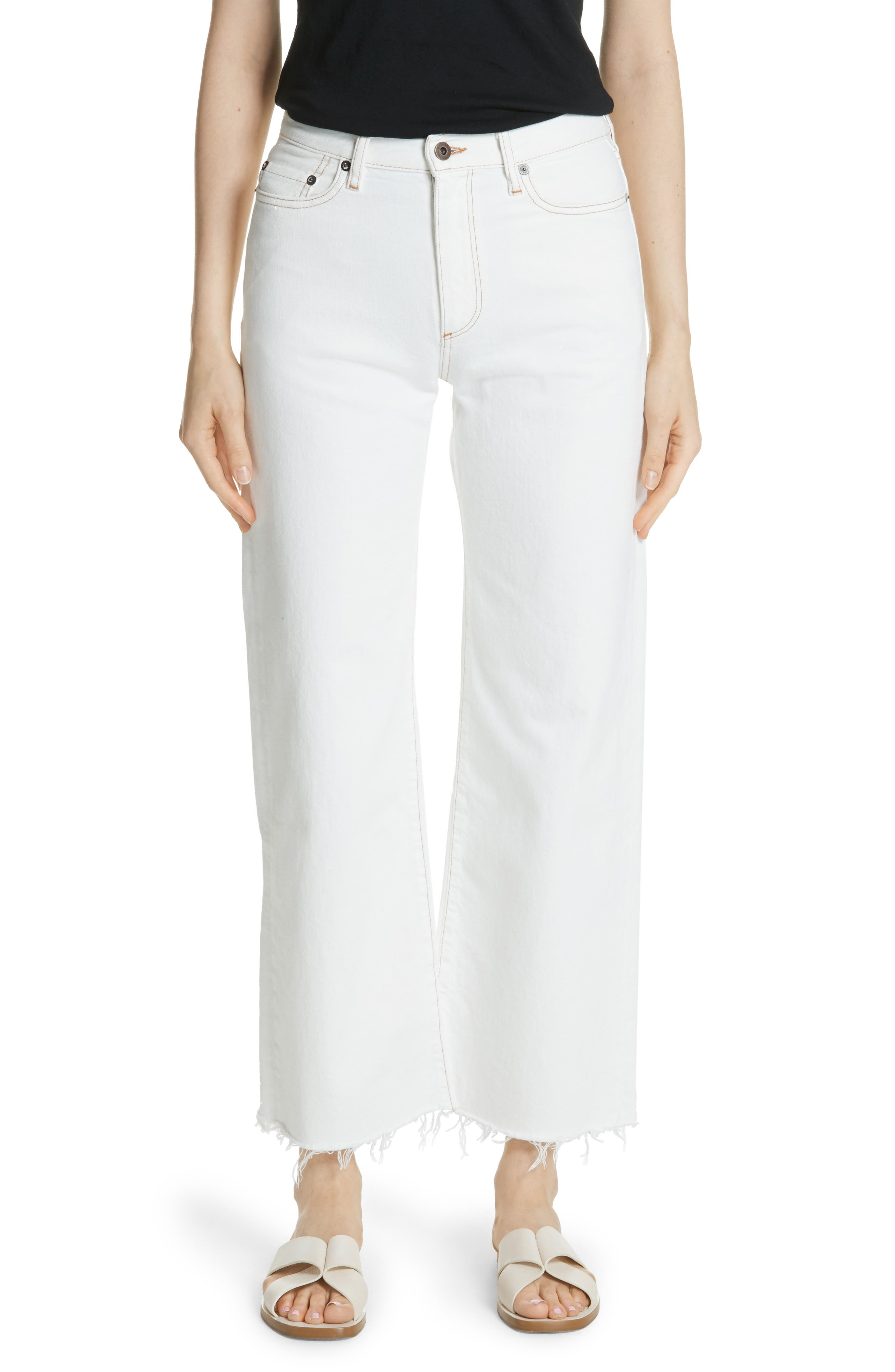 Enid High Waist Wide Leg Jeans,                         Main,                         color, White