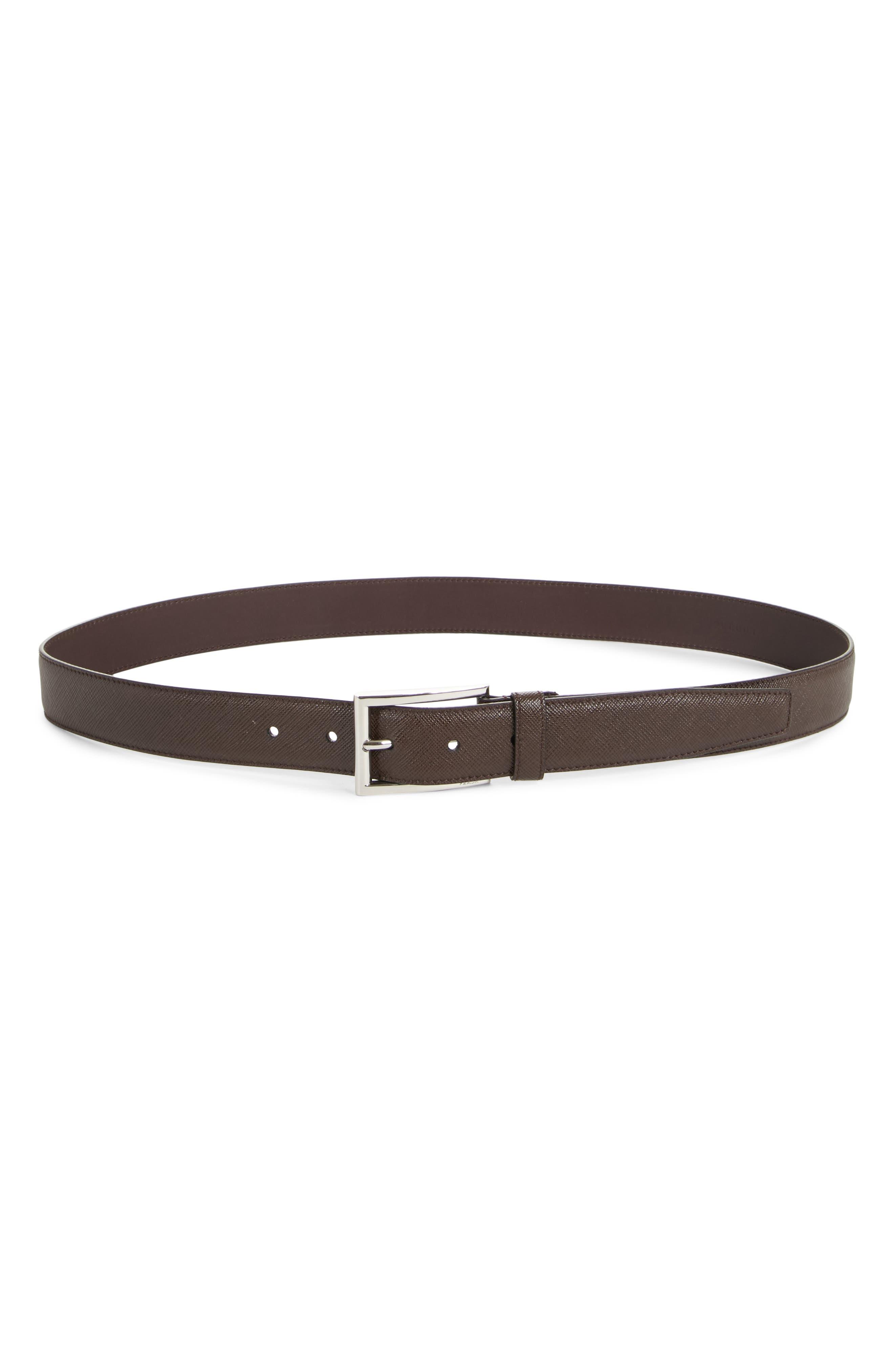 Saffiano Leather Belt,                         Main,                         color, Caffe