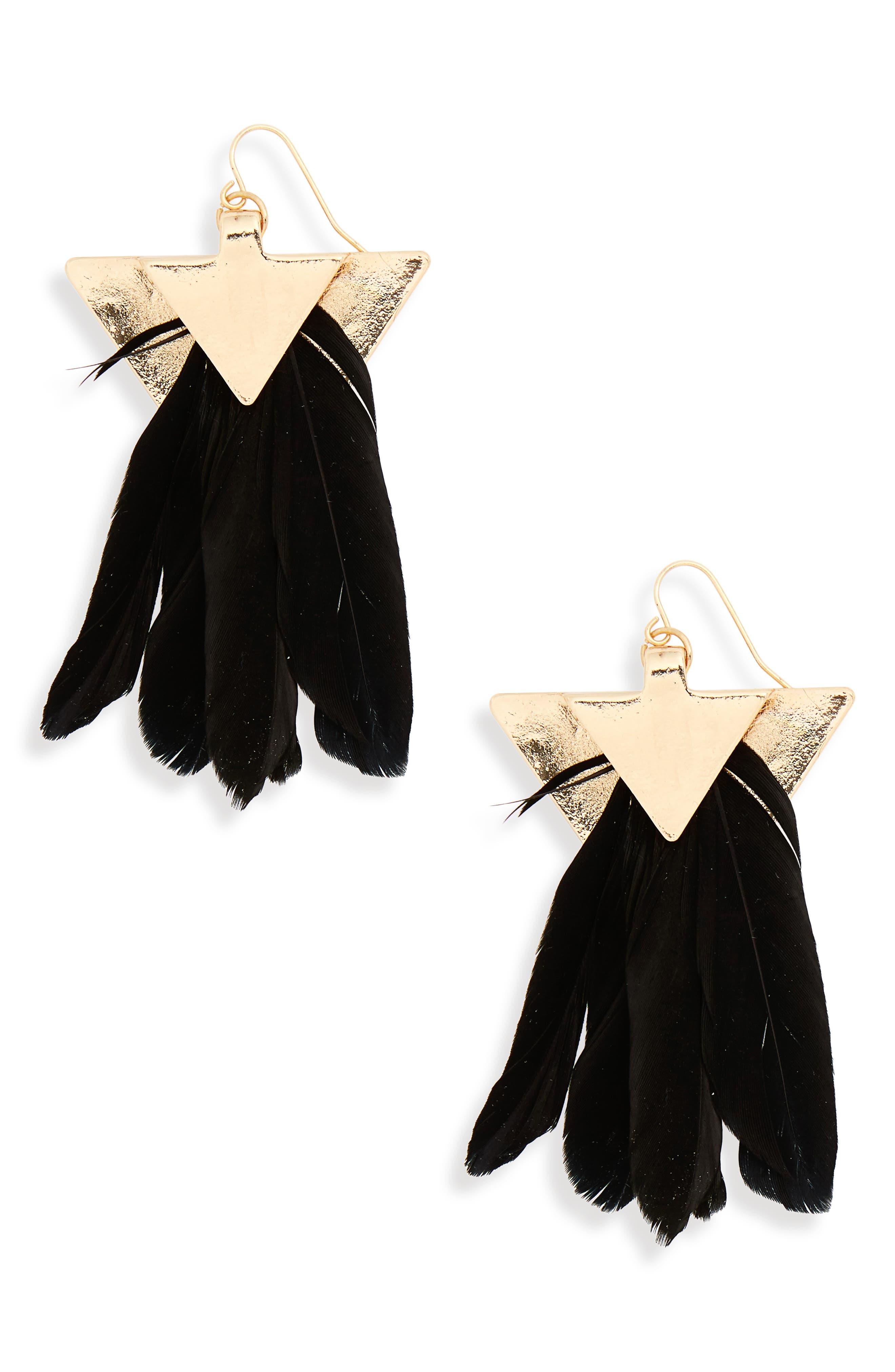 Feather Fan Earrings,                             Main thumbnail 1, color,                             Gold/ Black