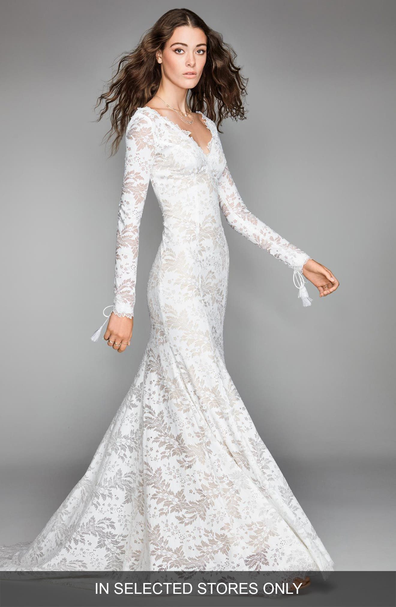 Luna Lace Mermaid Gown,                             Main thumbnail 1, color,                             Ivory/ Nude
