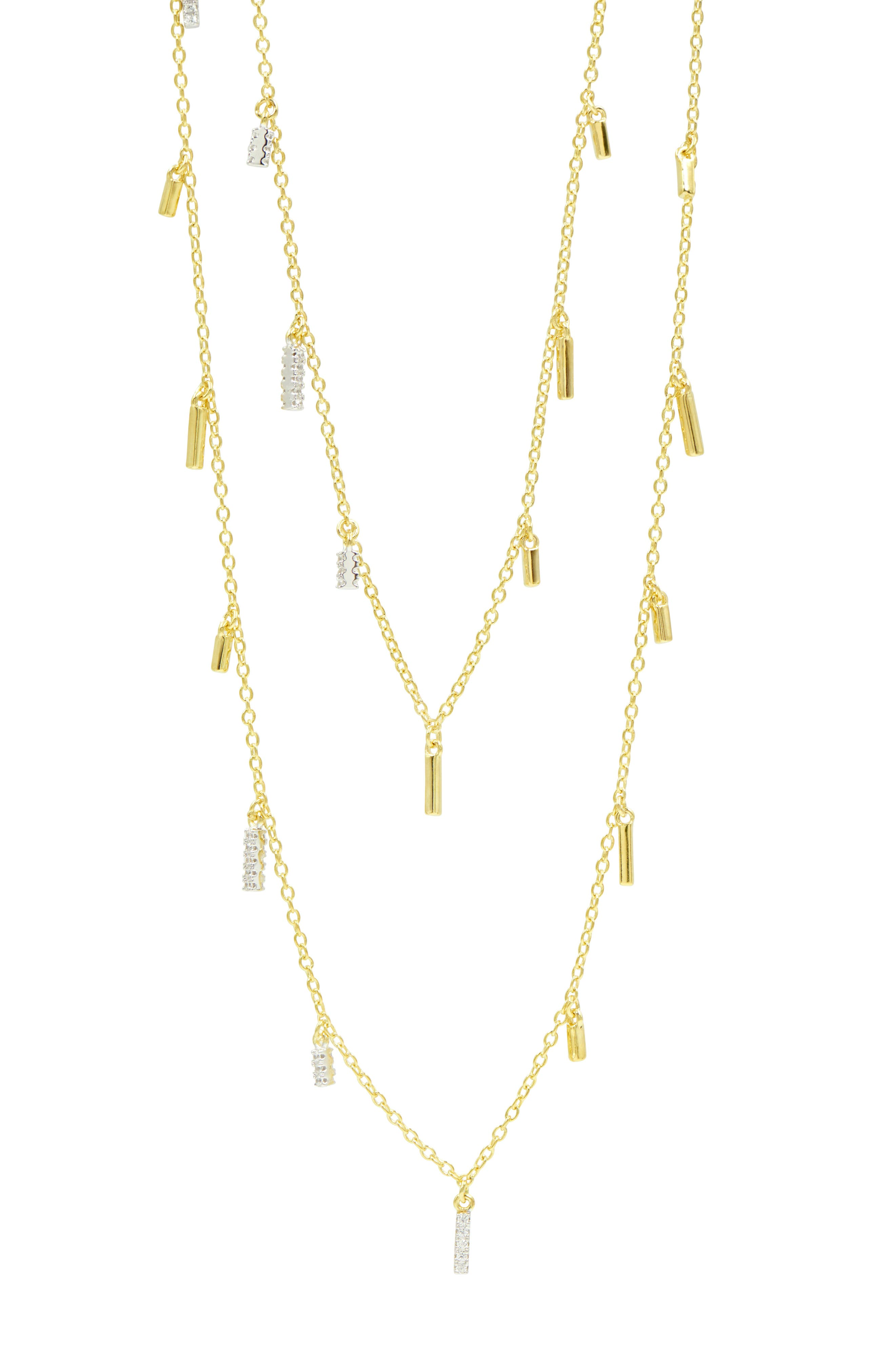 Radiance Droplet Cubic Zirconia Station Necklace,                             Alternate thumbnail 3, color,                             Silver/ Gold