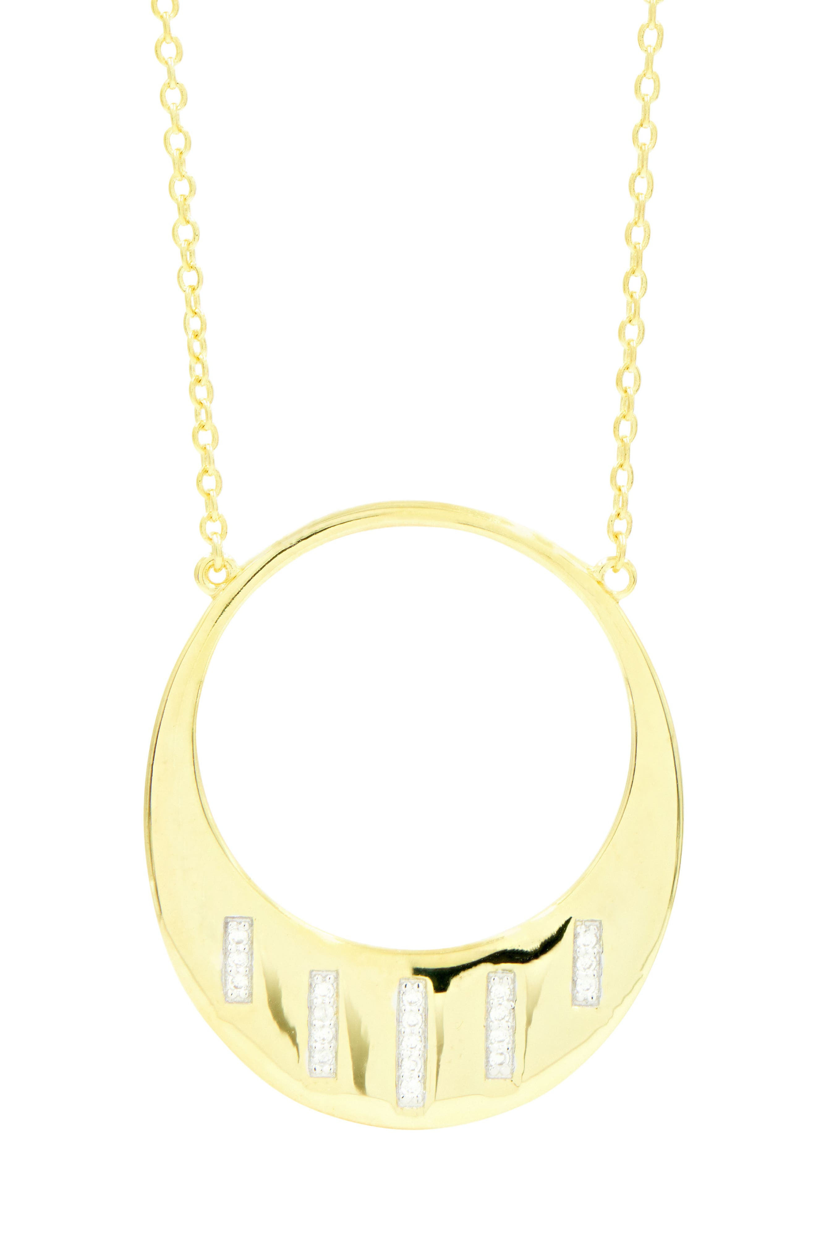 Radiance Open Pendant Necklace,                             Alternate thumbnail 3, color,                             Silver/ Gold
