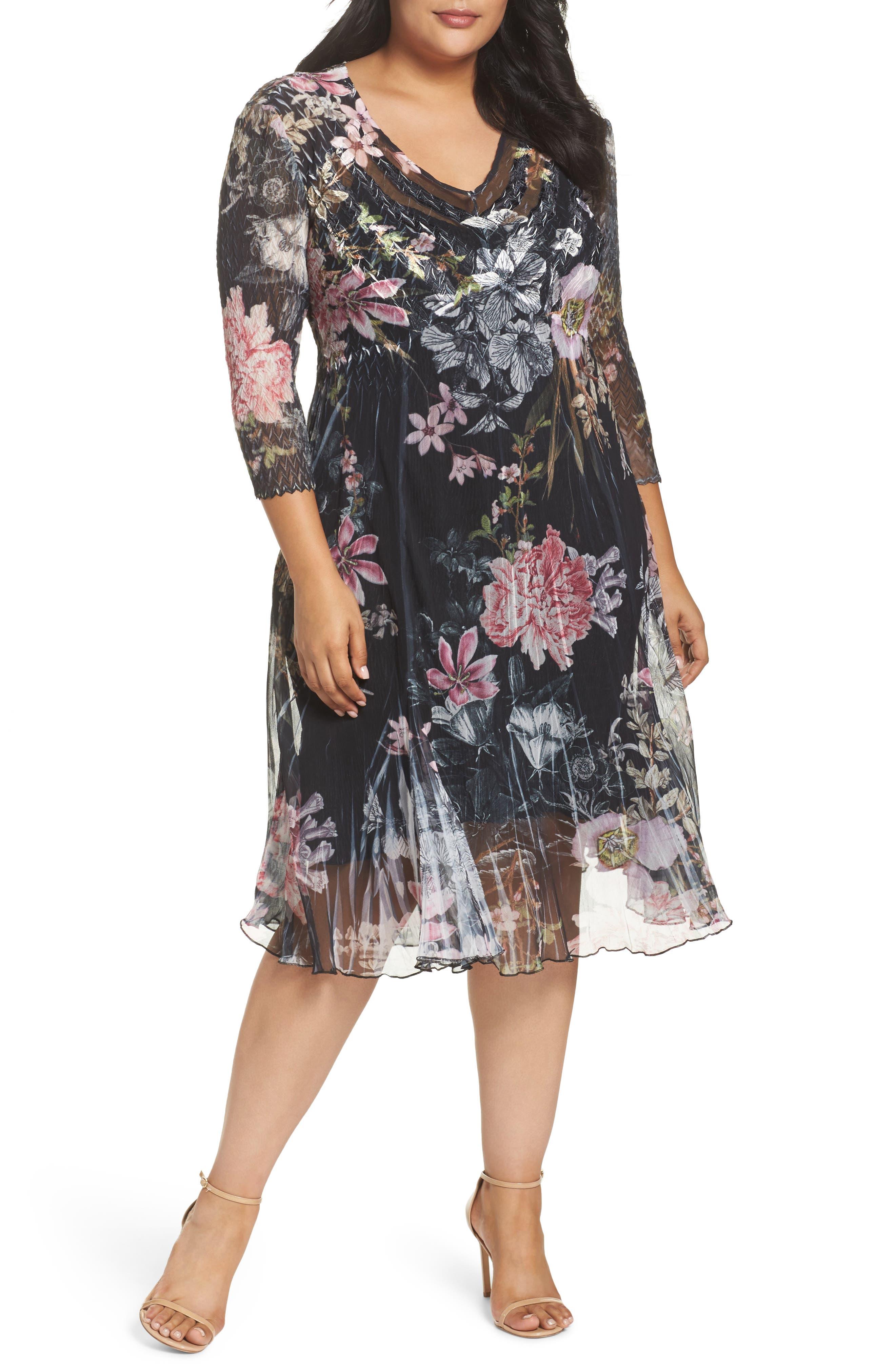 Main Image - Kamarov Floral Charmeuse & Chiffon Floral A-Line Dress (Plus Size)