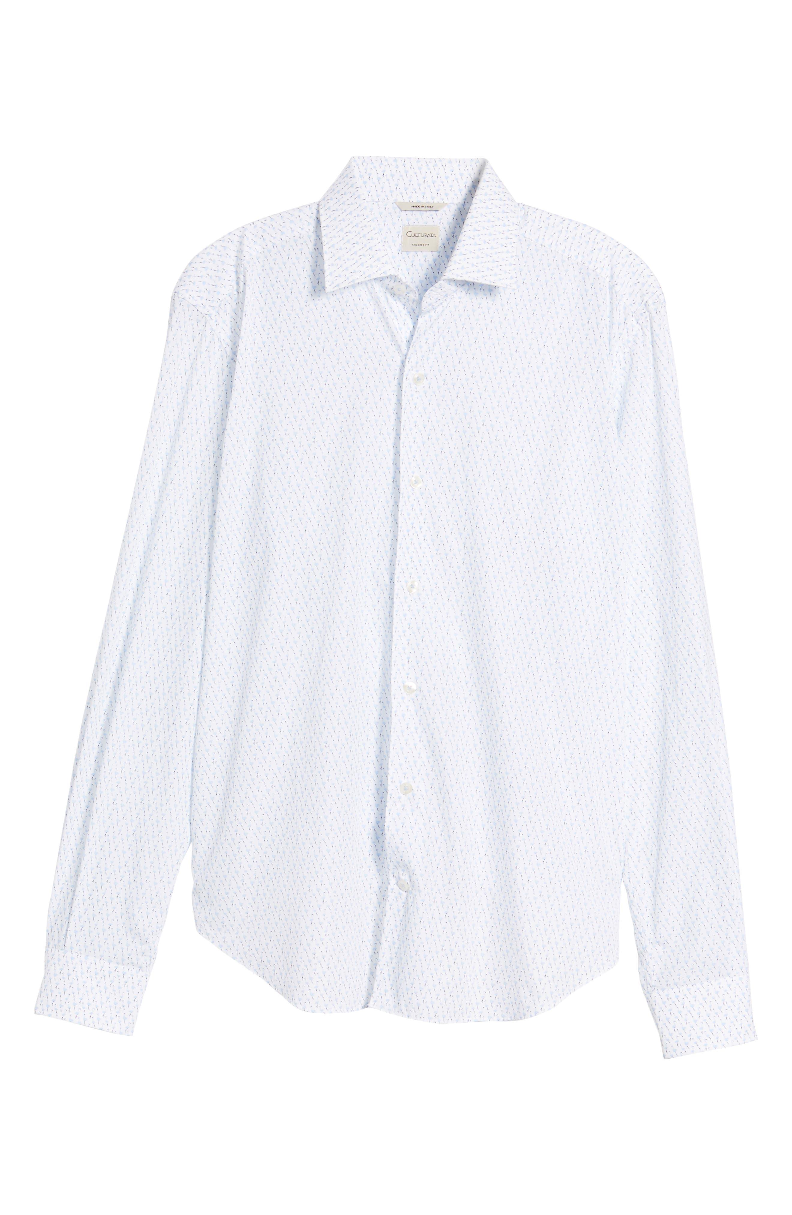 Tailored Fit Flamingo Print Sport Shirt,                             Alternate thumbnail 6, color,                             White
