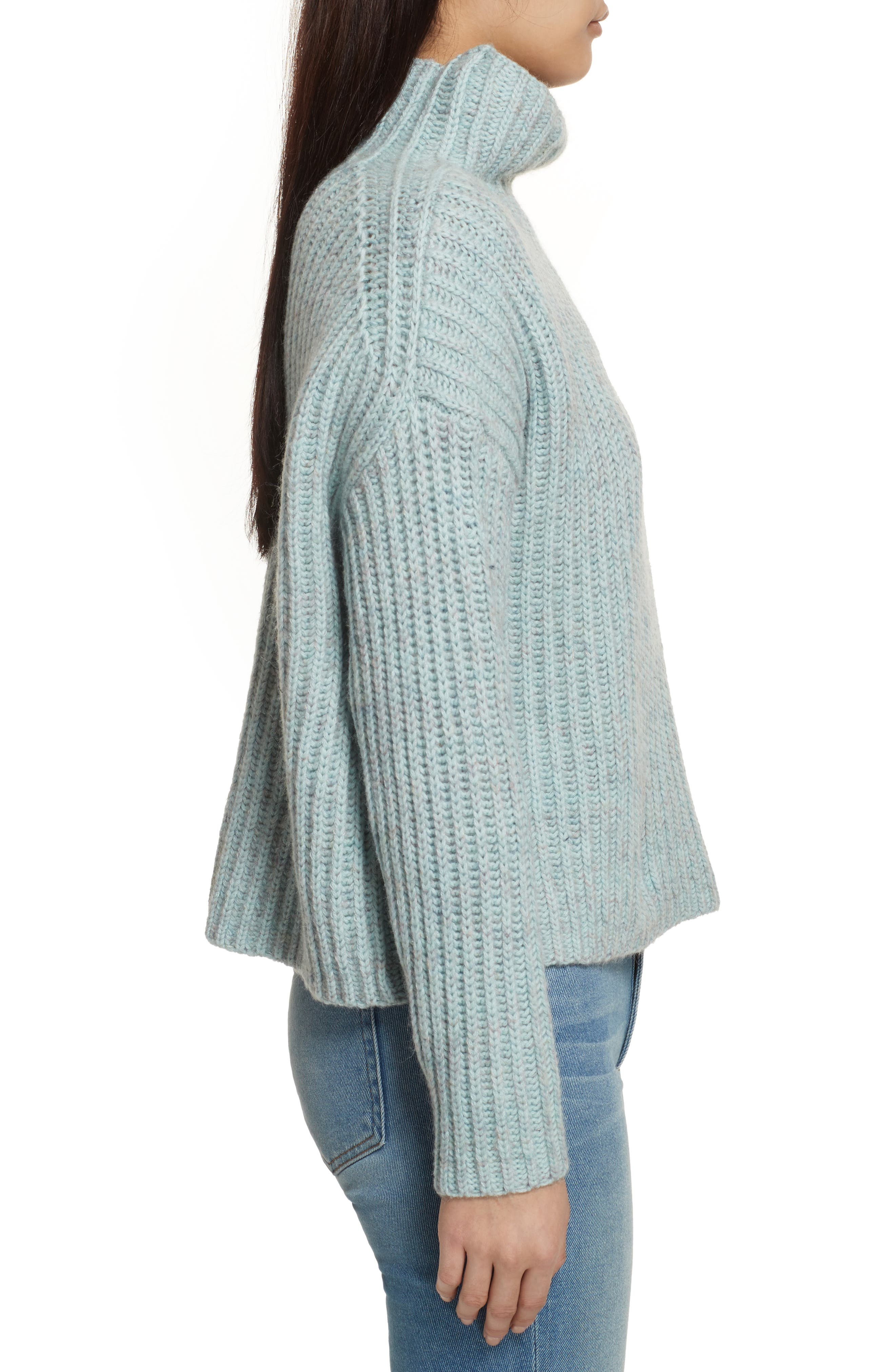 Ribbed Turtleneck Sweater,                             Alternate thumbnail 3, color,                             Tourmaline Heather