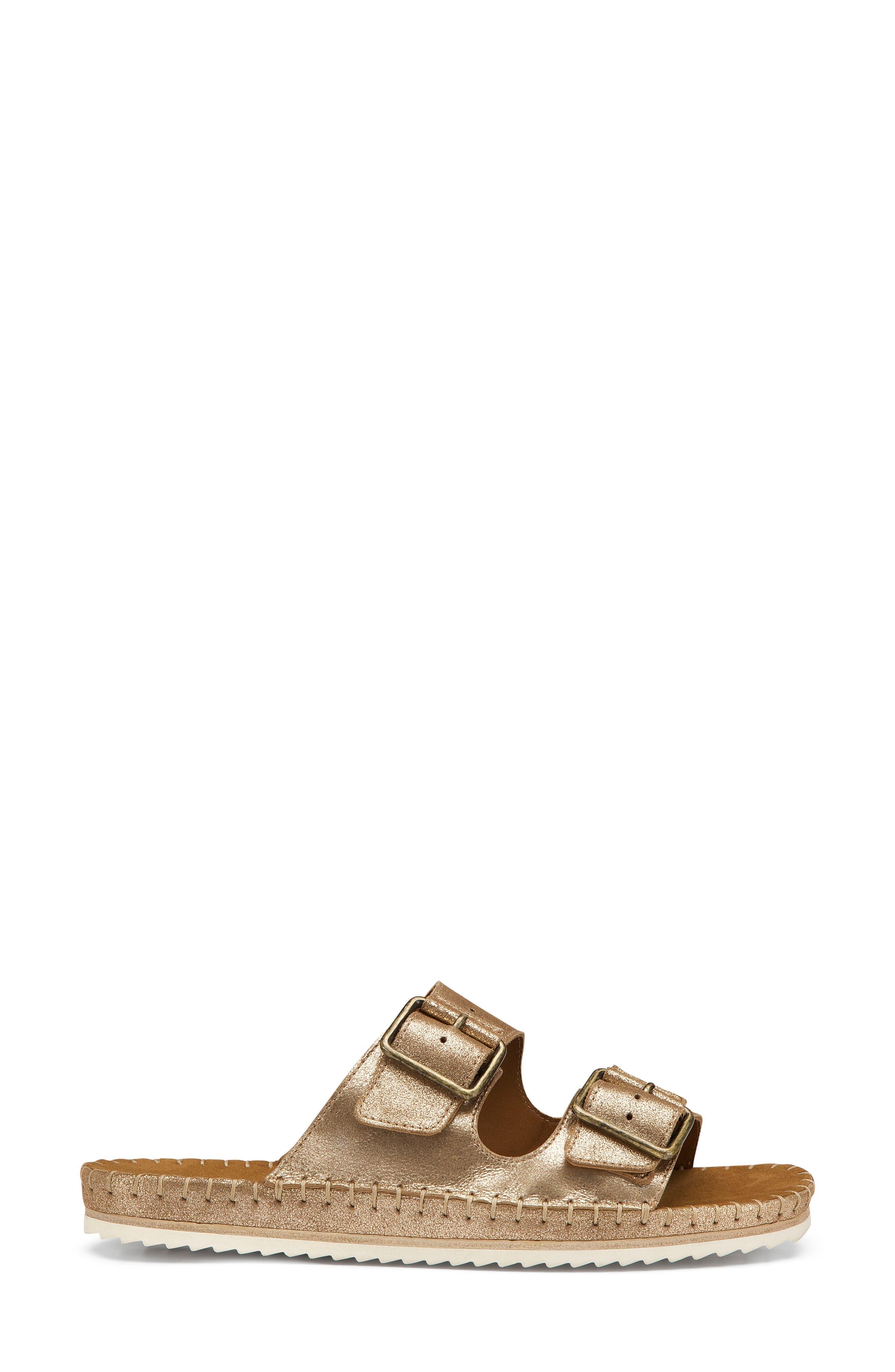 Carli Slide Sandal,                             Alternate thumbnail 3, color,                             Gold Metallic Suede