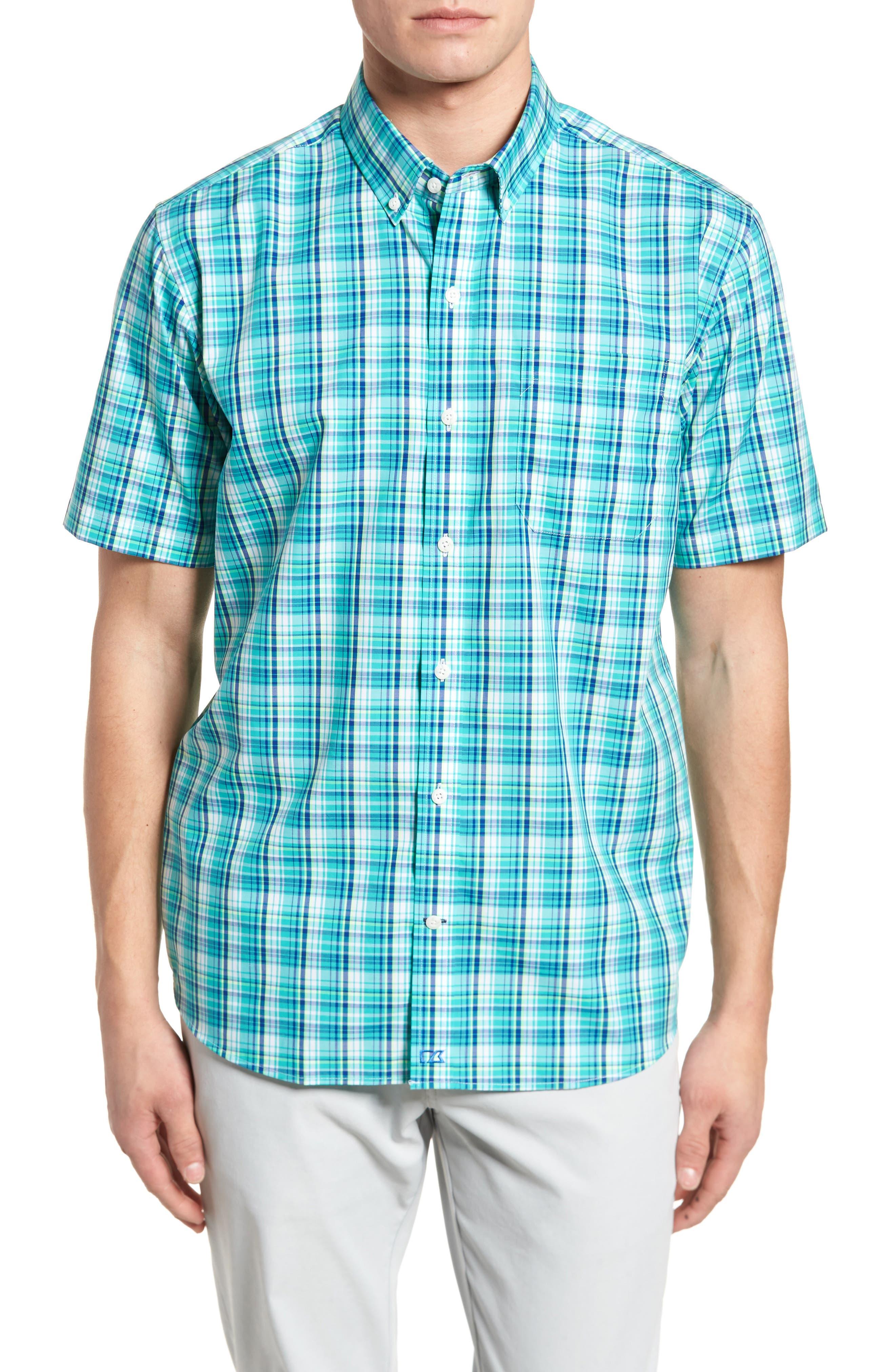 Tobias Non-Iron Plaid Woven Shirt,                         Main,                         color, Newport