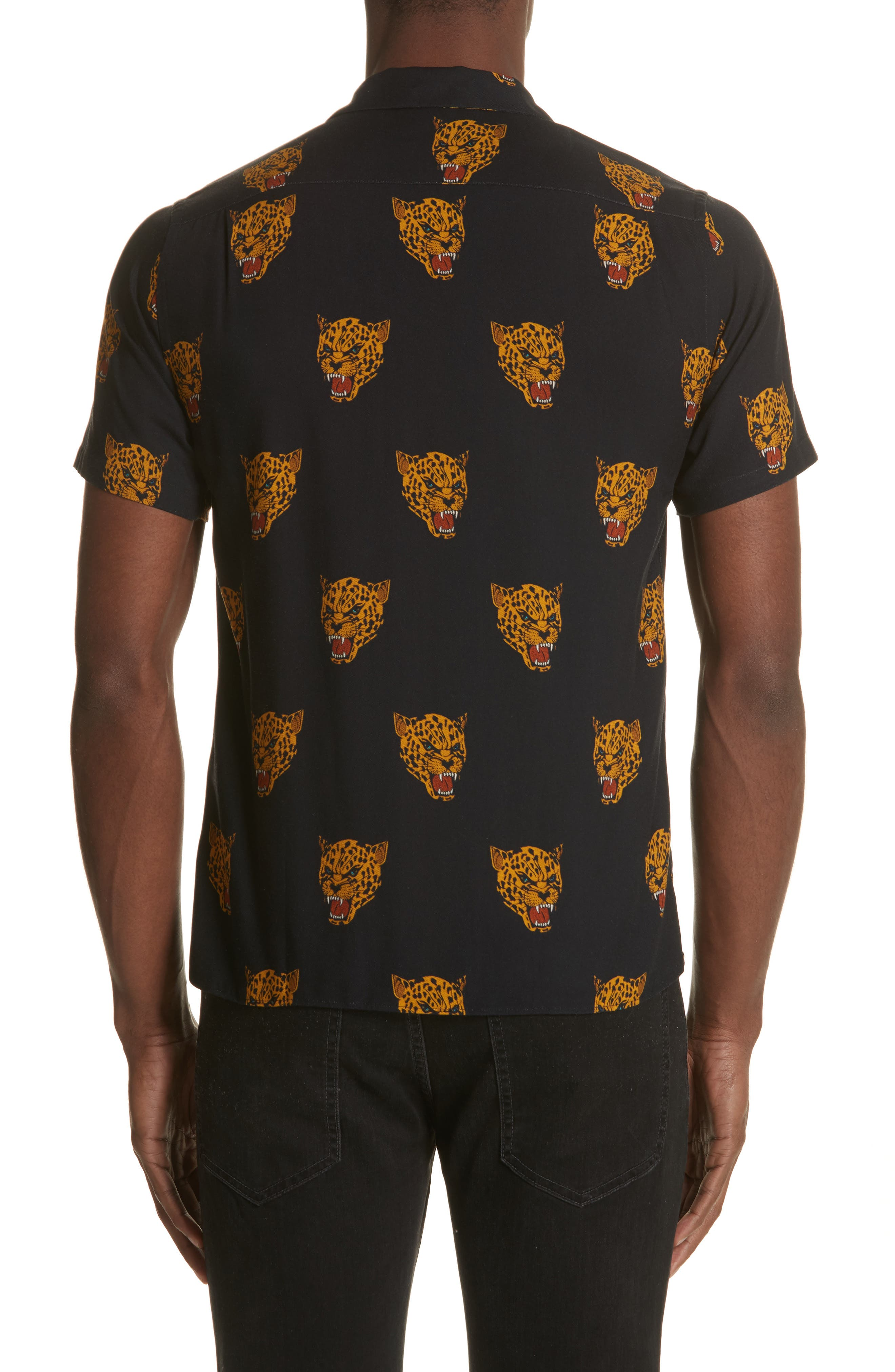 Tiger Print Camp Shirt,                             Alternate thumbnail 3, color,                             Black