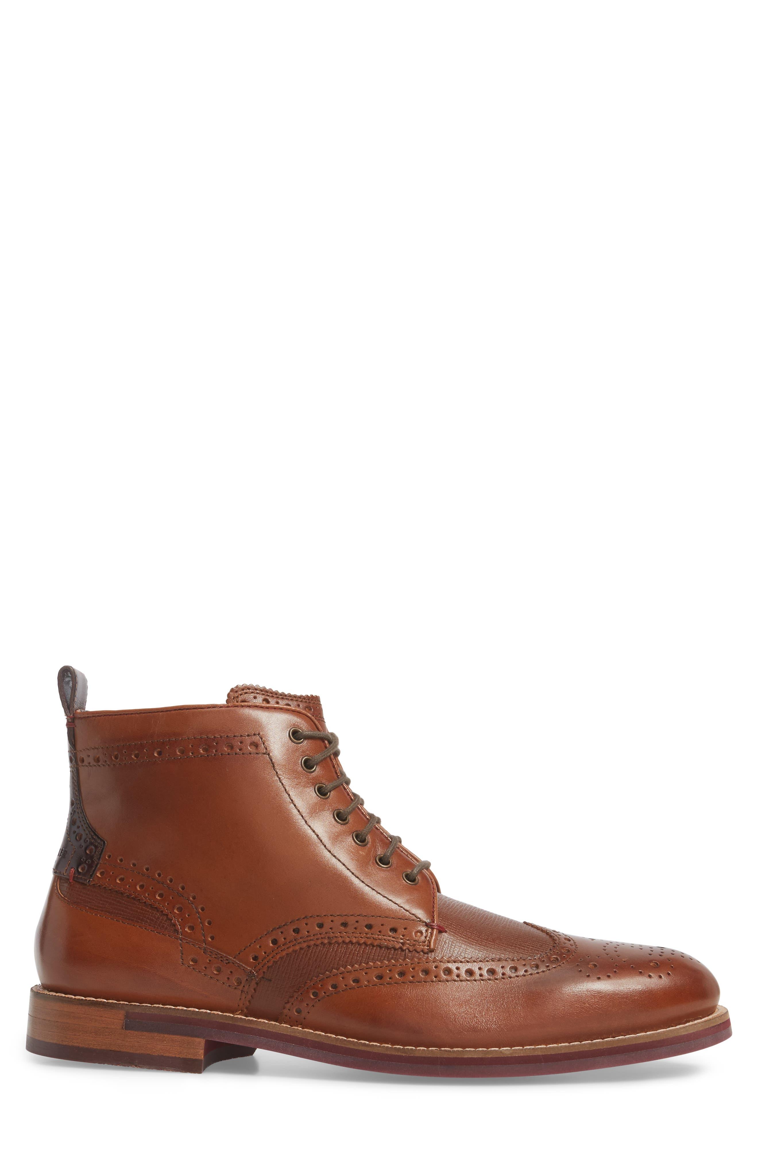 Hjenno Wingtip Boot,                             Alternate thumbnail 3, color,                             Tan Leather