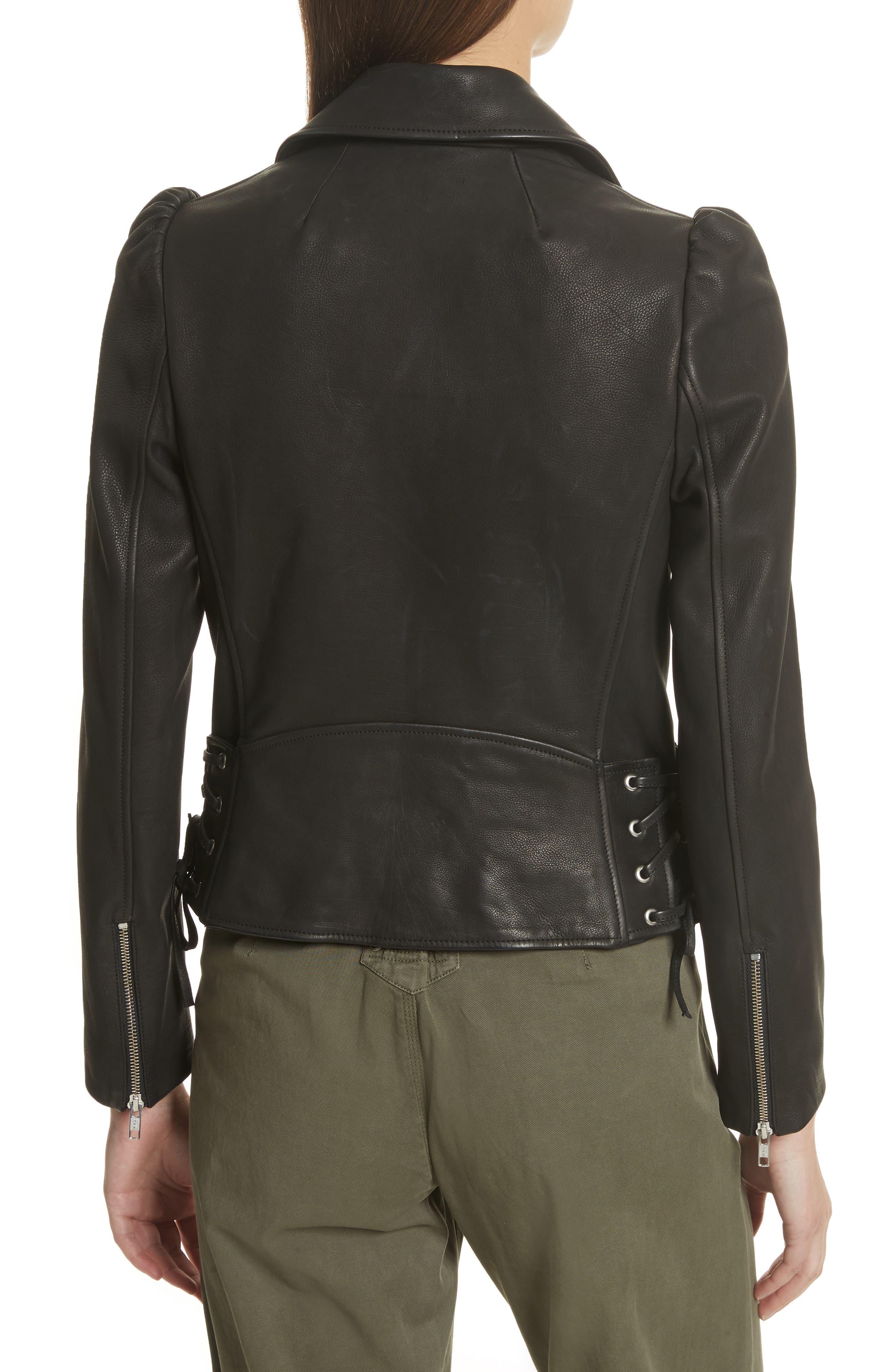 Calix Puff Shoulder Leather Moto Jacket,                             Alternate thumbnail 2, color,                             Black