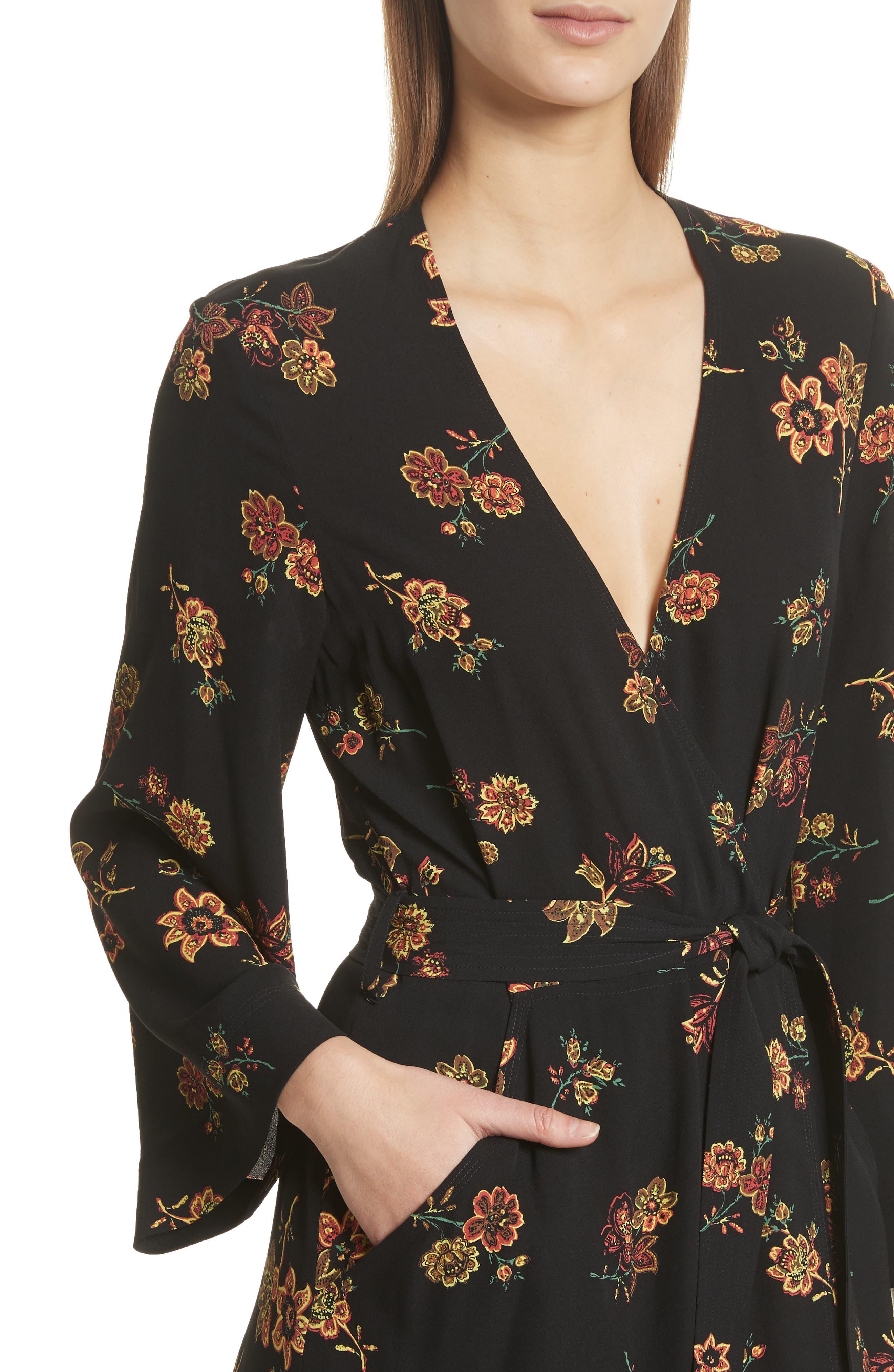 Wilma Silk Wrap Dress,                             Alternate thumbnail 4, color,                             Black