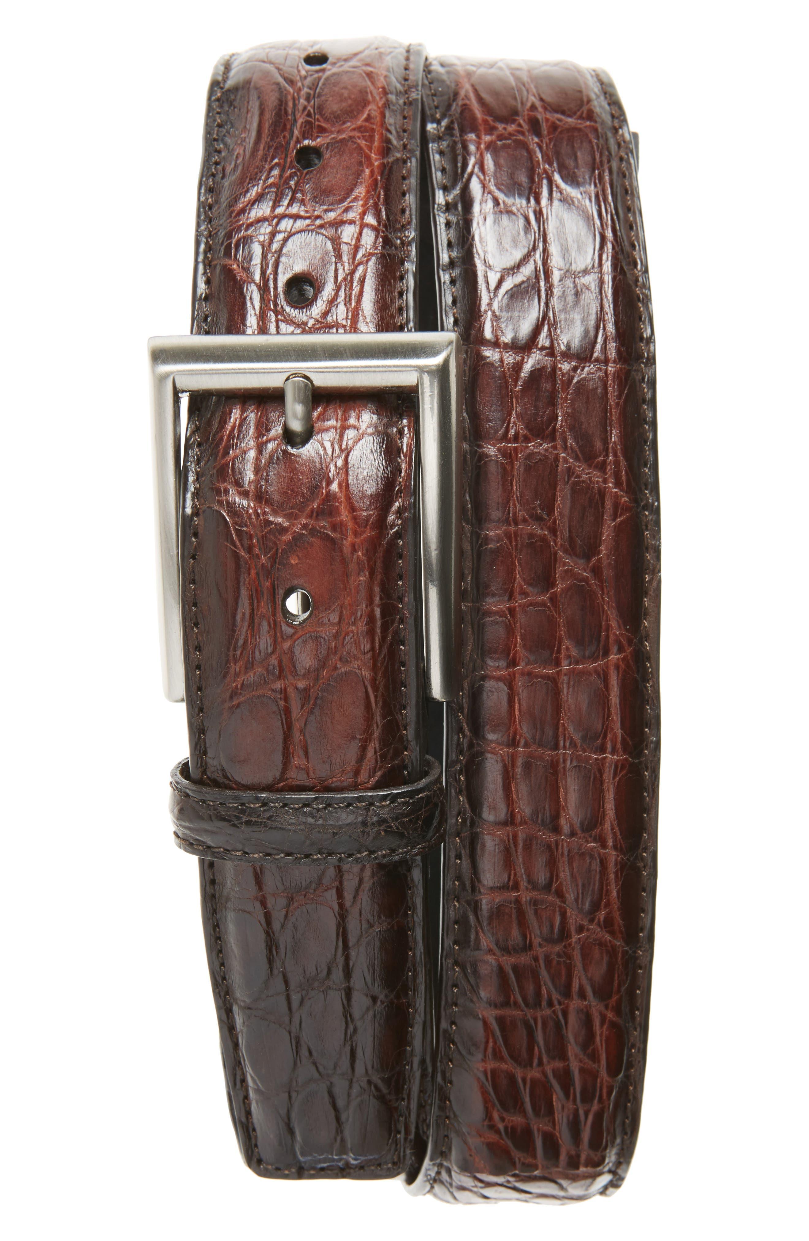 Crocodile Leather Belt,                         Main,                         color, Midbrown