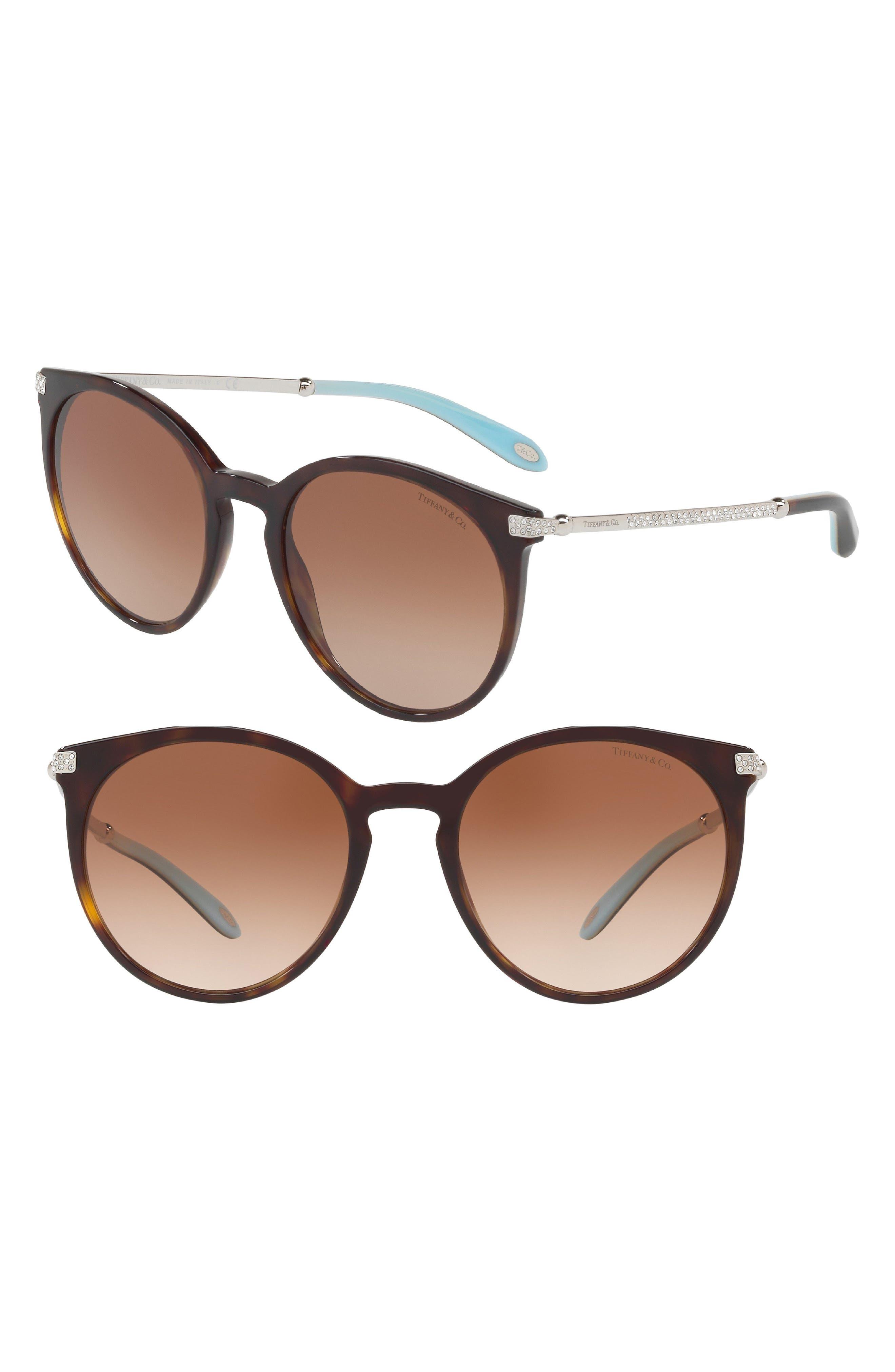54mm Gradient Round Sunglasses,                         Main,                         color, Dark Havana