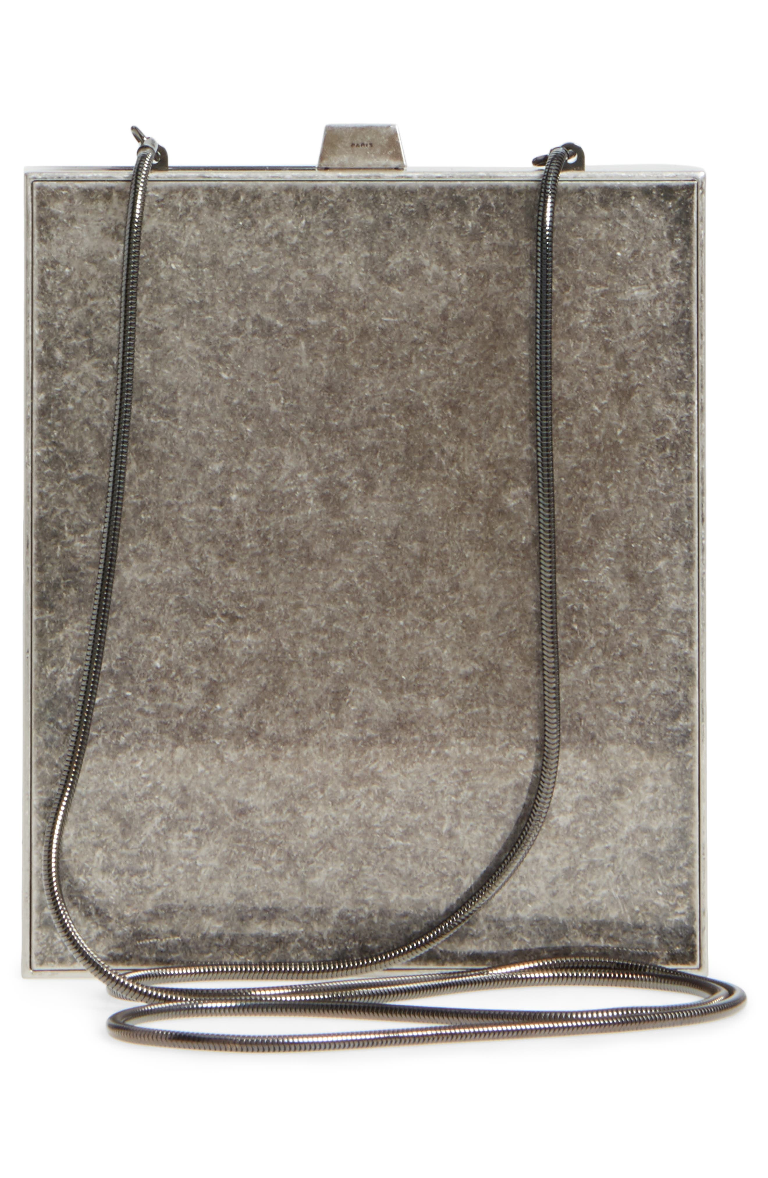 Tuxedo Metal Clutch,                             Alternate thumbnail 3, color,                             Aged Silver