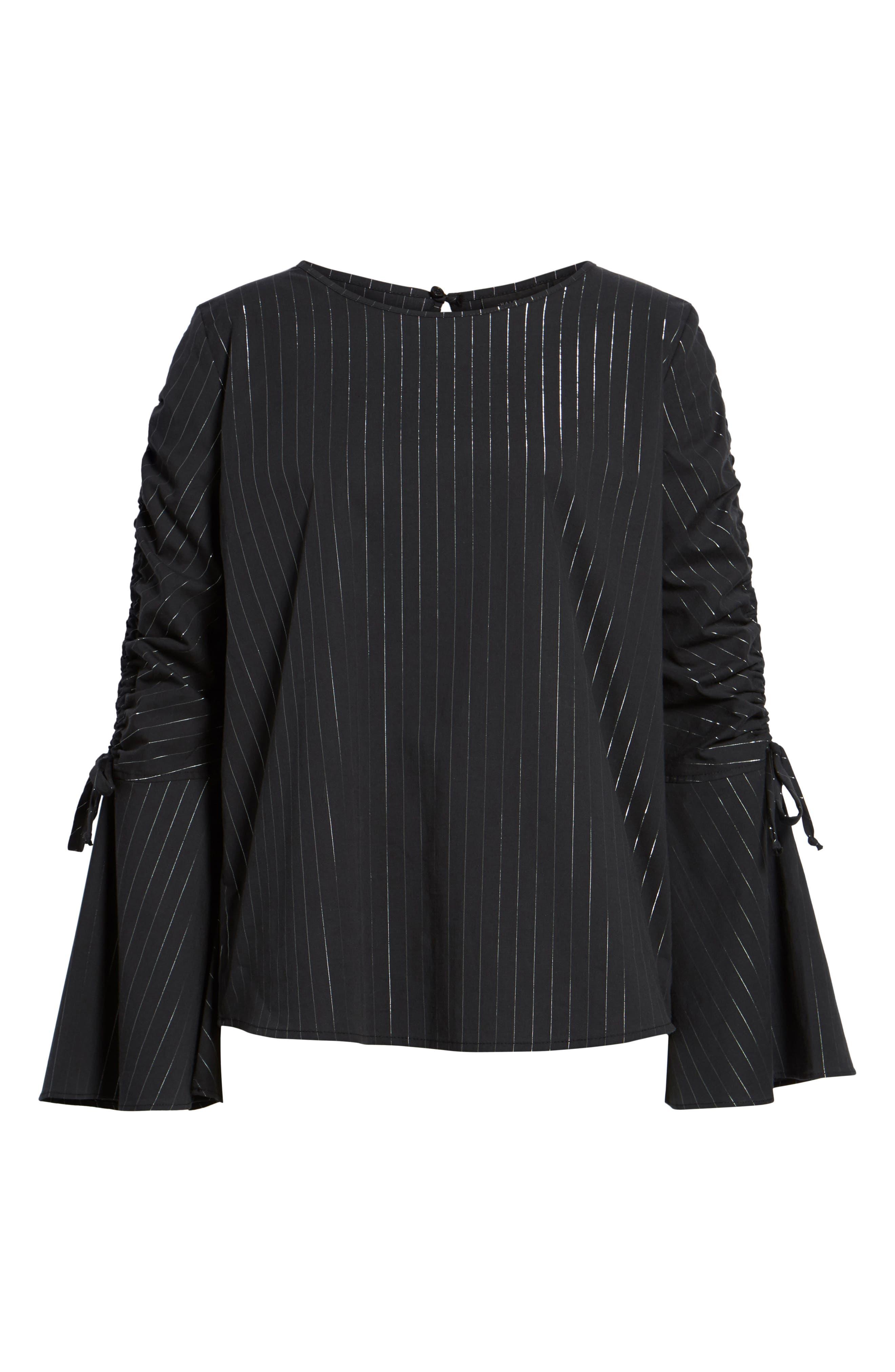 Ruched Sleeve Stripe Top,                             Alternate thumbnail 6, color,                             Black Wide Lurex Stripe