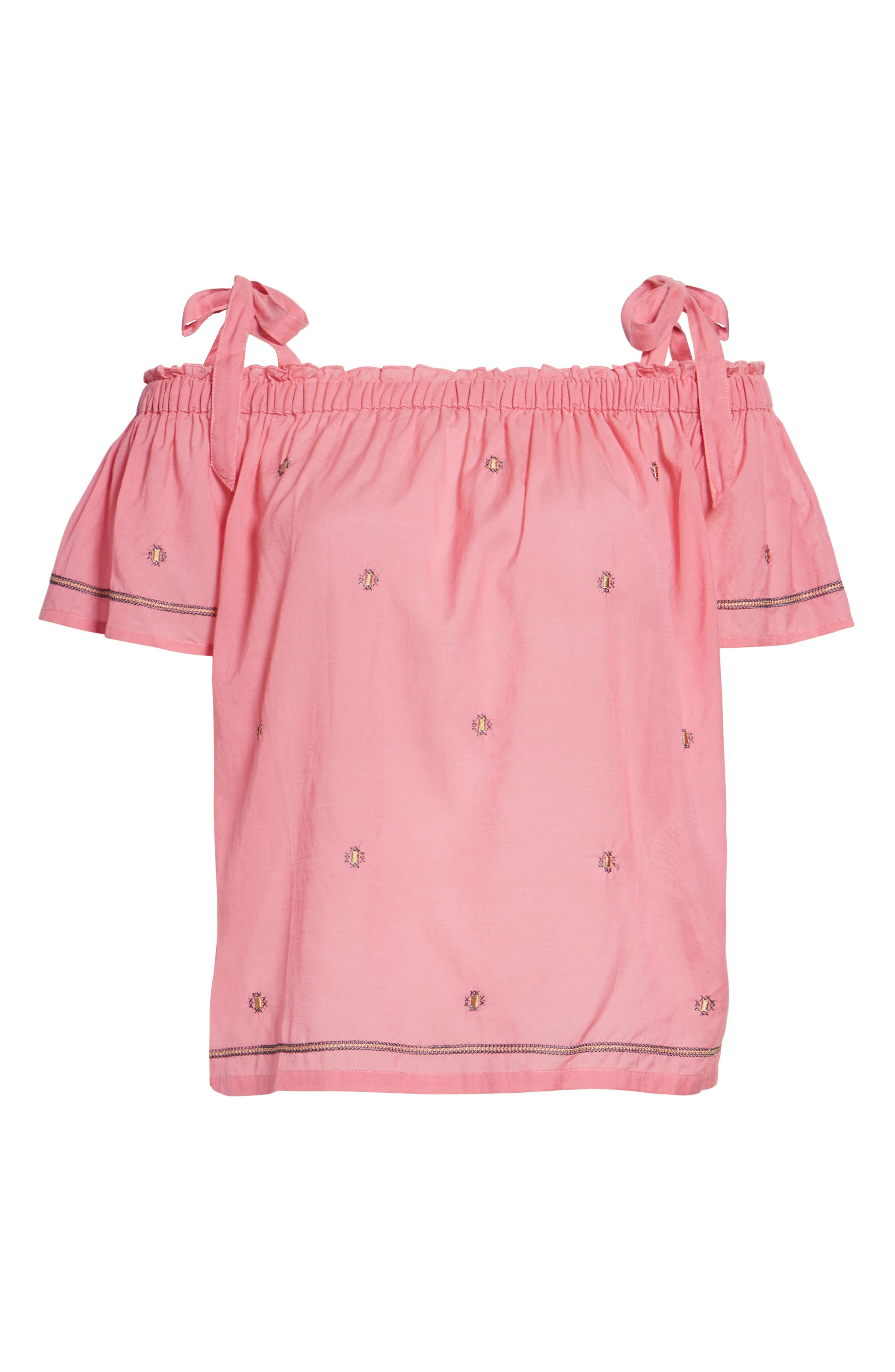 Embroidered Off the Shoulder Top,                             Alternate thumbnail 6, color,                             Flamingo Pink