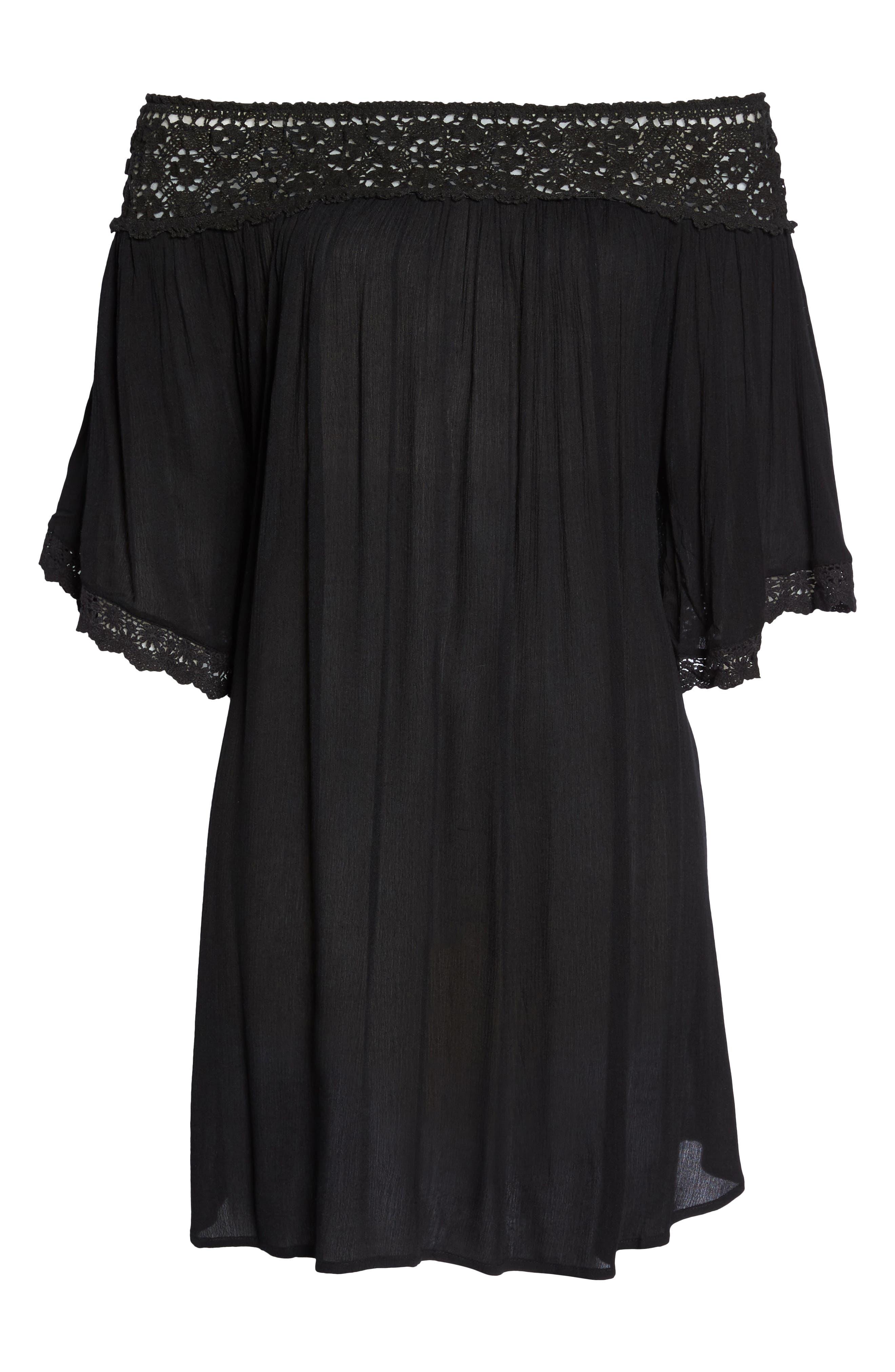 Rimini Crochet Cover-Up Dress,                             Alternate thumbnail 6, color,                             Black