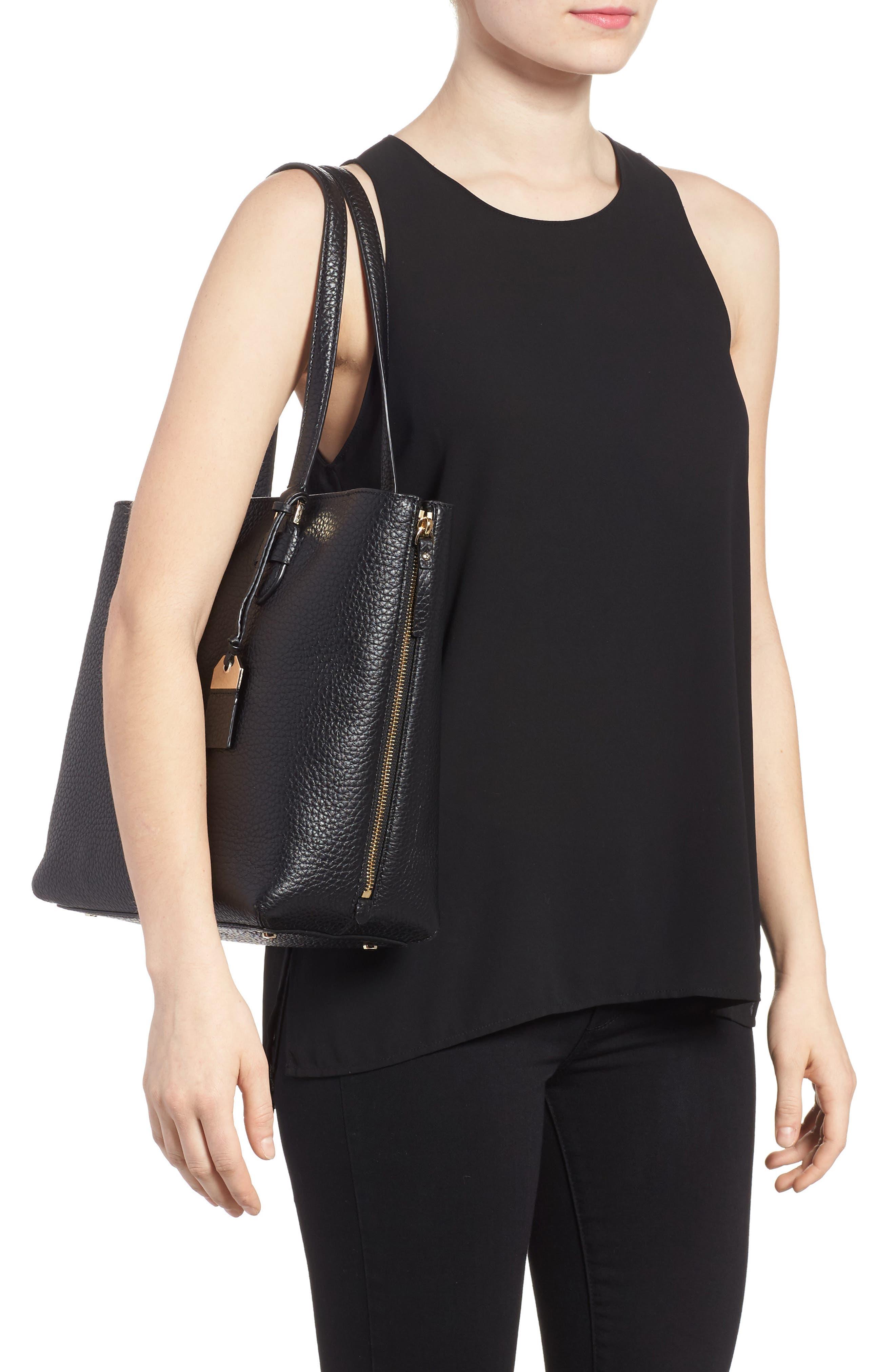 carter street - selena leather tote,                             Alternate thumbnail 2, color,                             Black