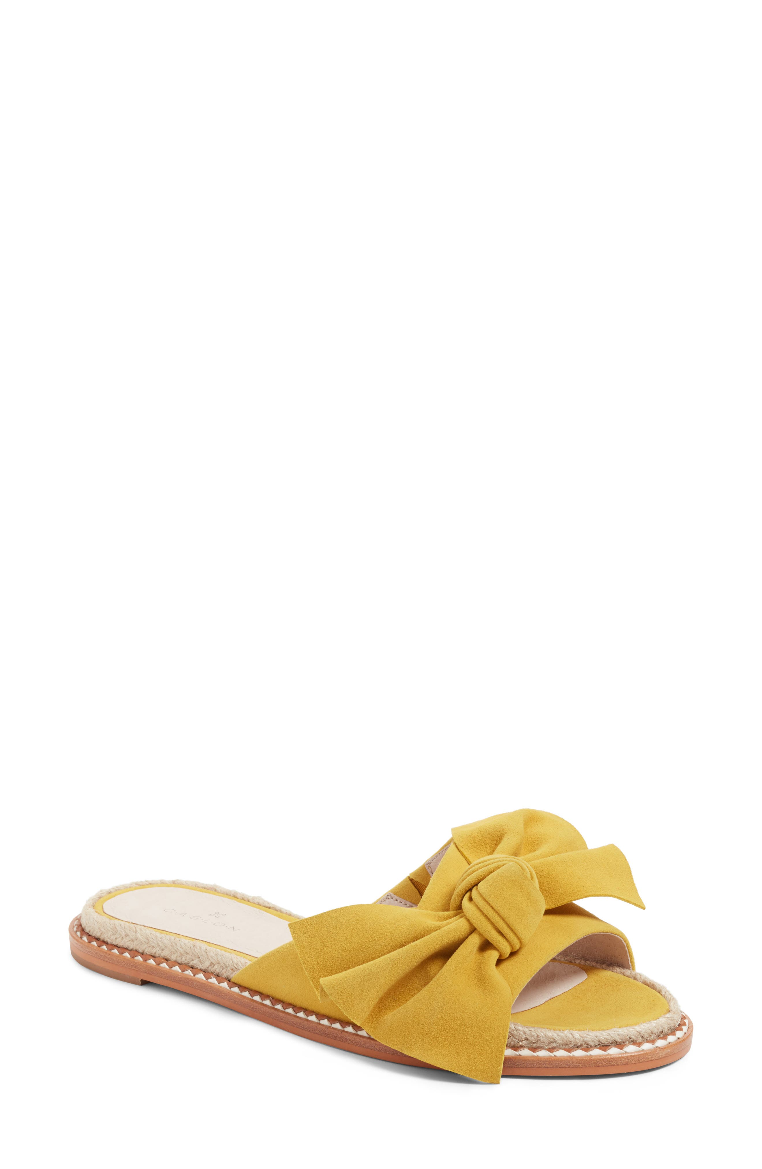 Darcie Slide Sandal,                         Main,                         color, Mustard Suede