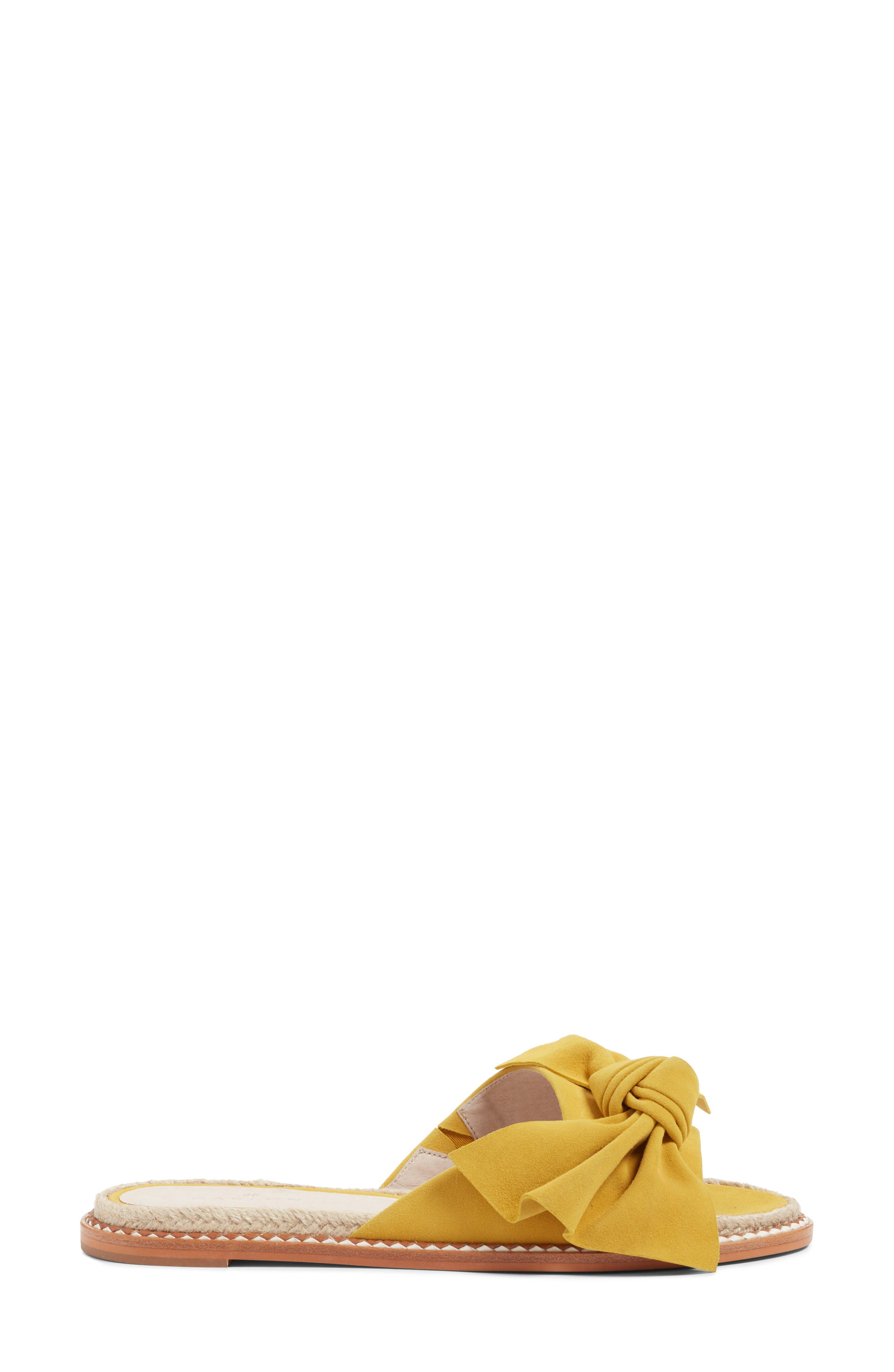 Darcie Slide Sandal,                             Alternate thumbnail 3, color,                             Mustard Suede