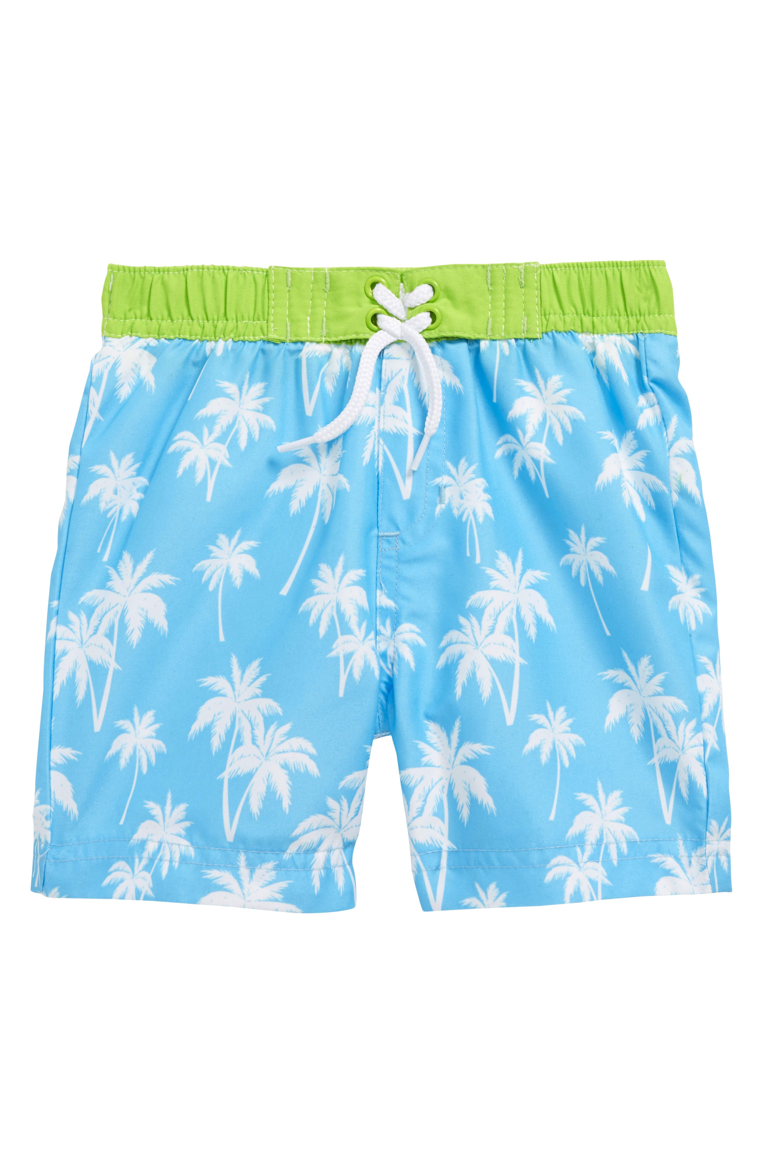 Alternate Image 1 Selected - Little Me Palm Tree Swim Trunks (Baby Boys)