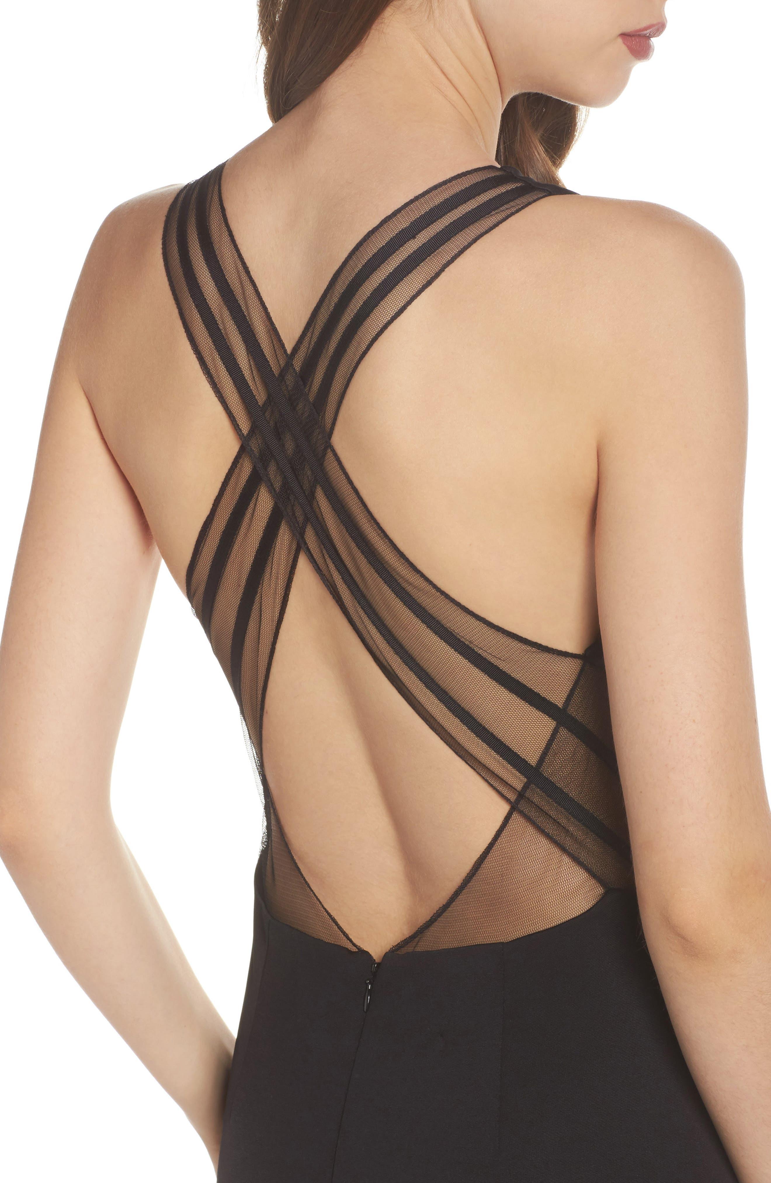 Lola Crossback Jersey Halter Gown,                             Alternate thumbnail 4, color,                             Black