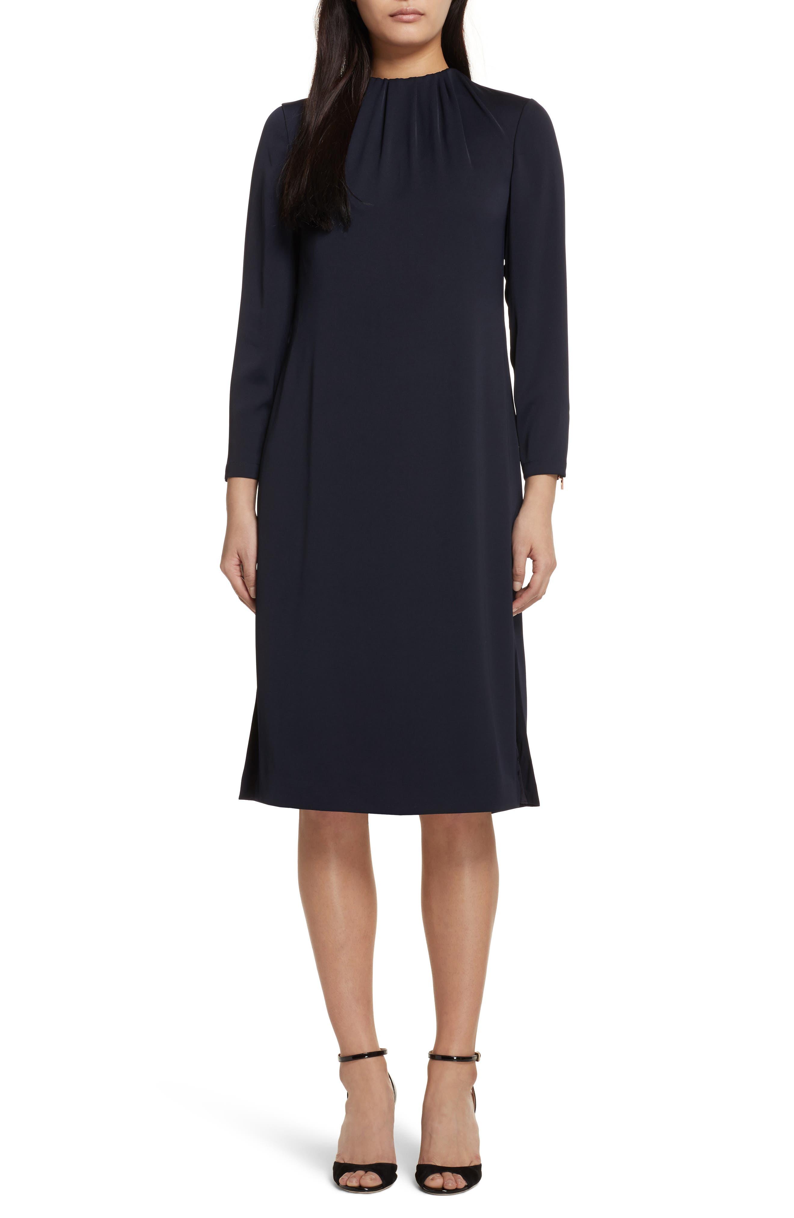 Ruched Neck Dress,                         Main,                         color, Dark Blue