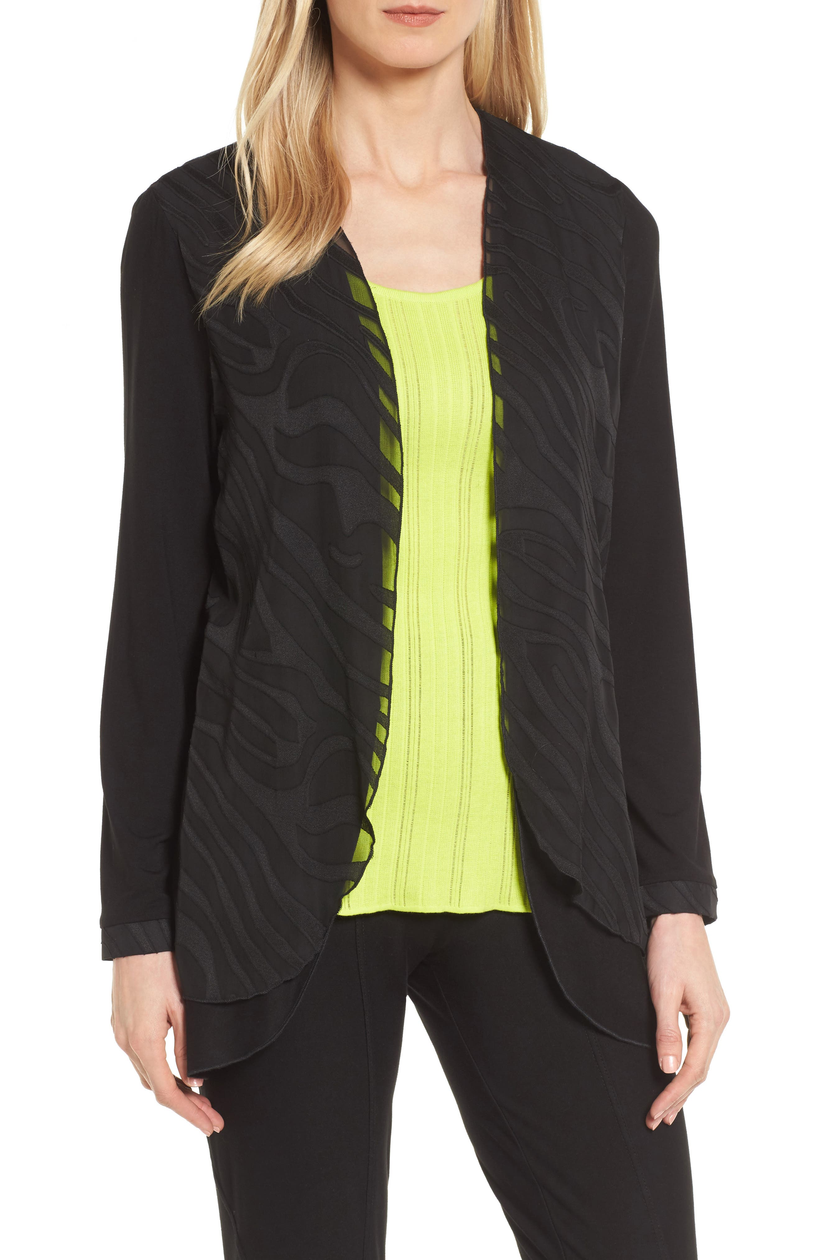 Ming Wang Sheer Layered Jacket